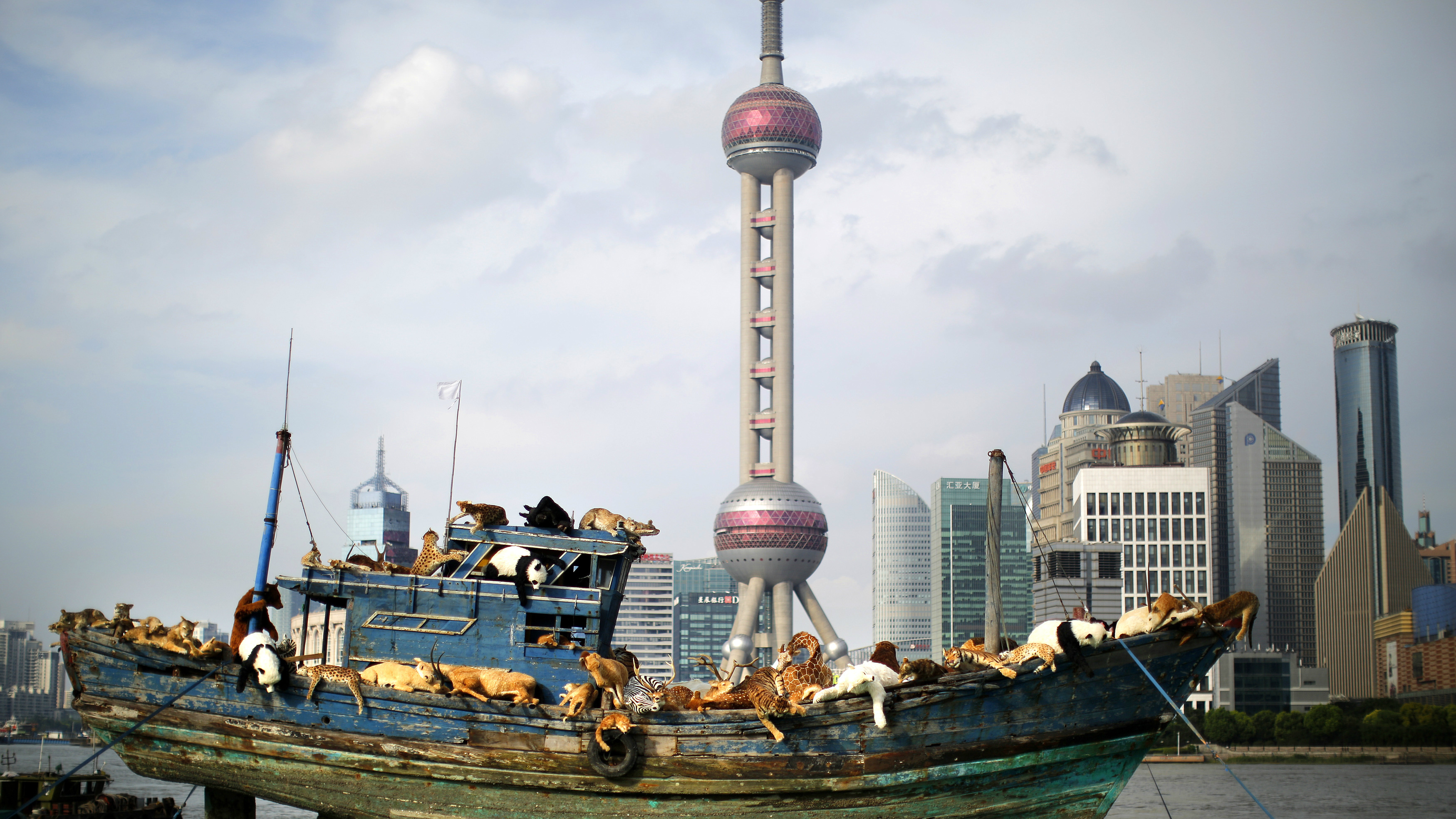 A boat in front of Shanghai