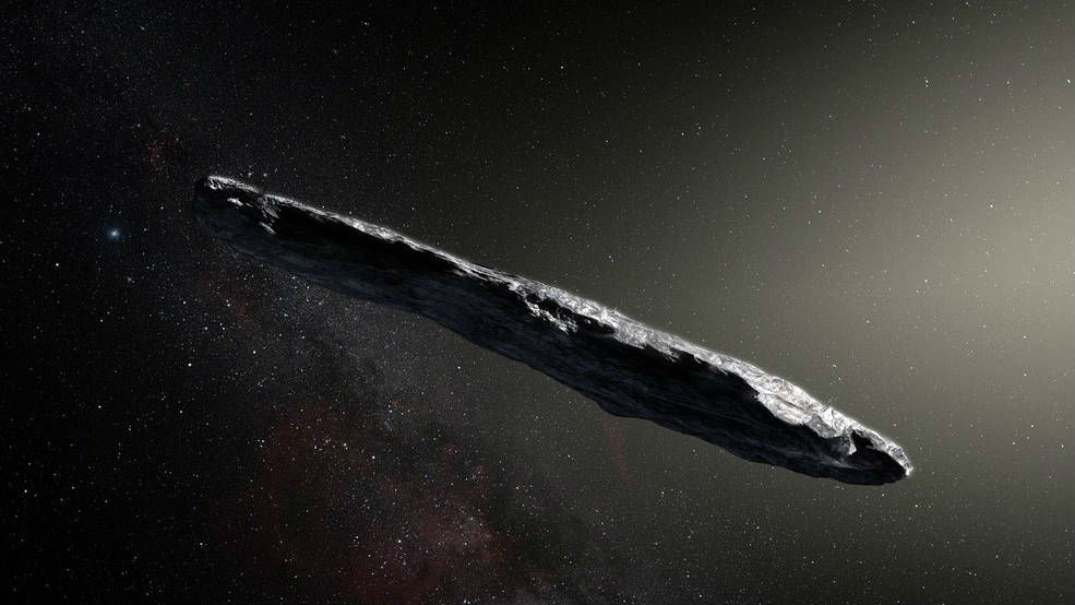 an artists rendition of the first interstellar asteroid