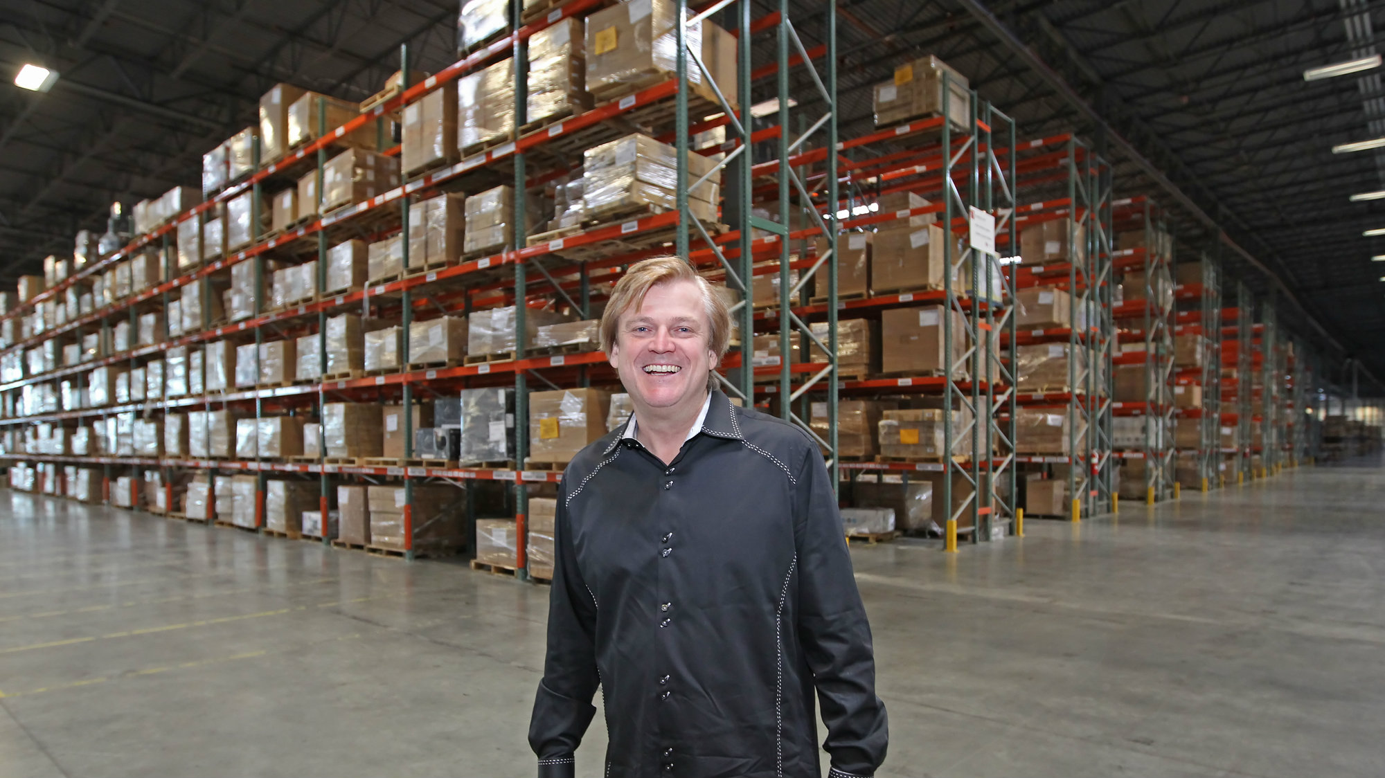 Chairman and CEO of OverStock.com Patrick M. Byrne poses for a picture in the warehouse of Overstock.com just outside Salt Lake City, Utah on March 25, 2010.