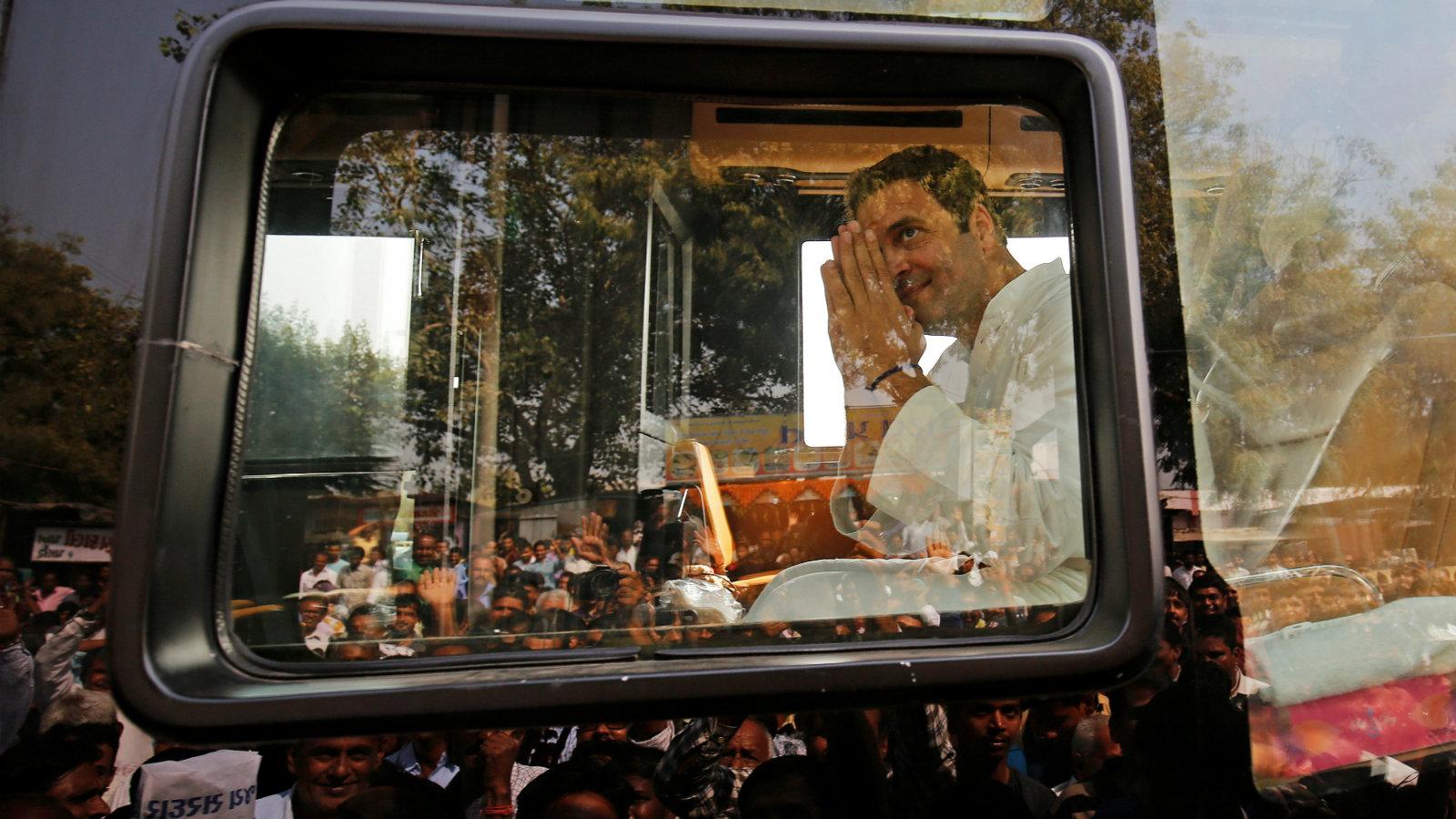 Rahul Gandhi greets his supporters at a village outside Ahmedabad, Gujarat, on Nov. 11, 2017.