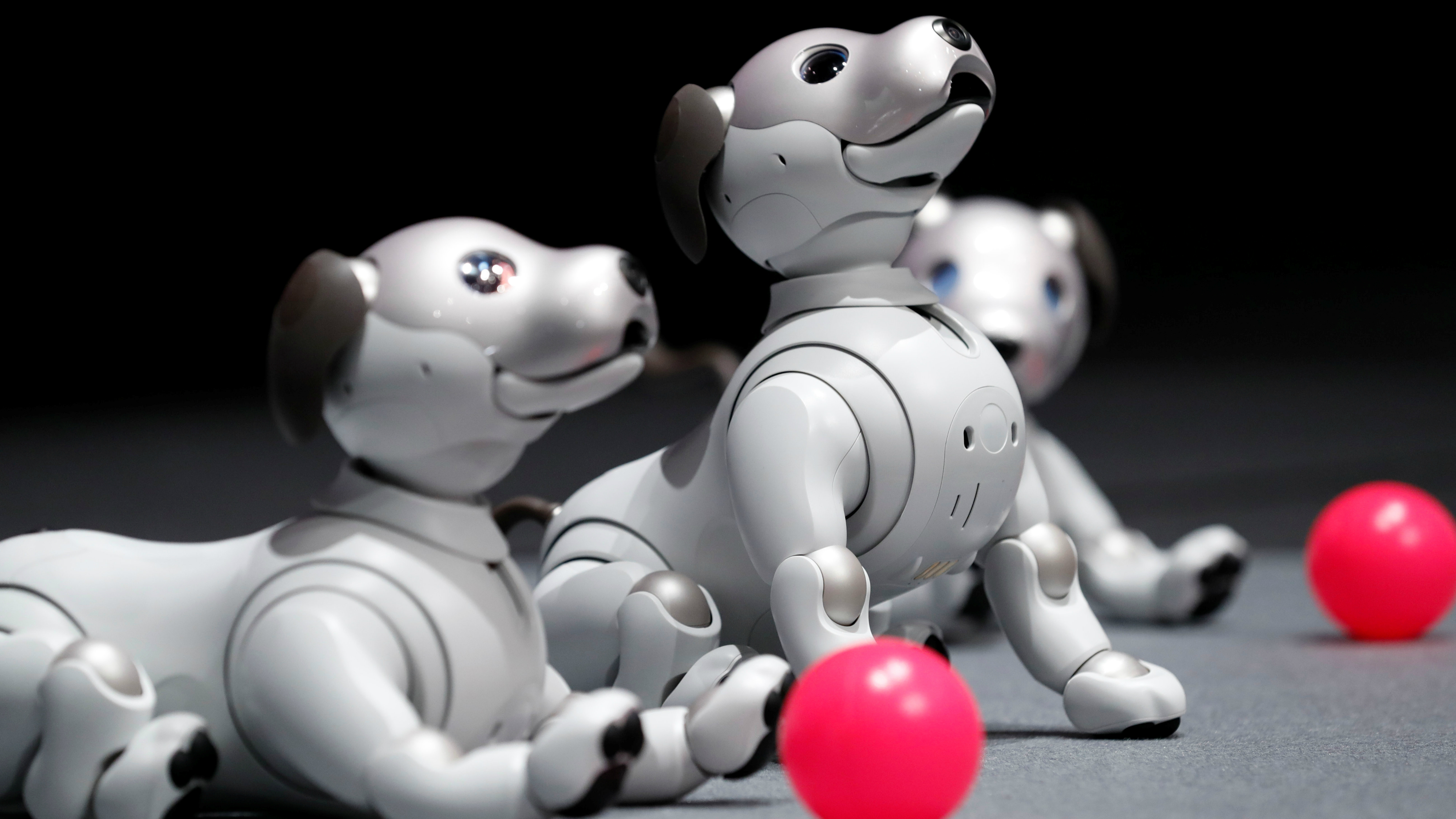 Dog robots playing with a ball.