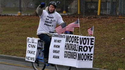supporter for Alabama Republican senatorial candidate Roy Moore