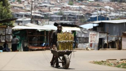 A trader pushes wheelbarrow loaded with sugar-cane for sale along a street in Kibera slum, home to over 1 million people, in Kenya's capital Nairobi, March 7, 2014.