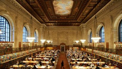 The main reading room of The New York Public Library is pictured December 14, 2004. The New York Public Library is among the libraries that announced on December 13, 2004 that they are partnering with Internet search engine Google Inc, to offer a collection of its public domain books, which will be scanned in their entirety and made available for free to the public online. Users will be able to search and browse the full text of these works. Google will begin scanning millions of books from Oxford University, Harvard University, Stanford University, The University of Michigan and the New York Public Library beginning in 2005.