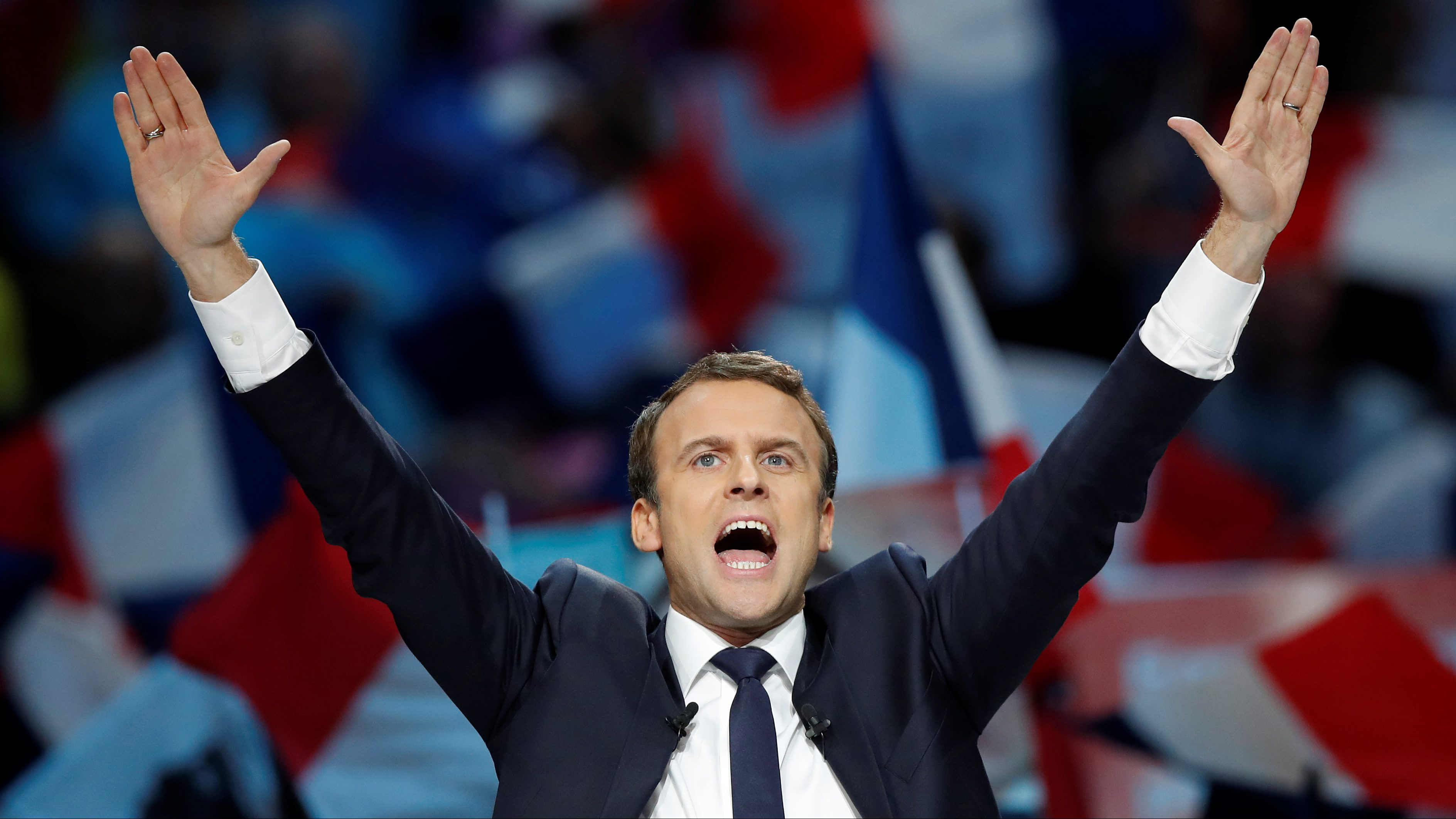 Emmanuel Macron, head of the political movement En Marche !, or Onwards !, and candidate for the 2017 French presidential election, attends a campaign political rally in Paris