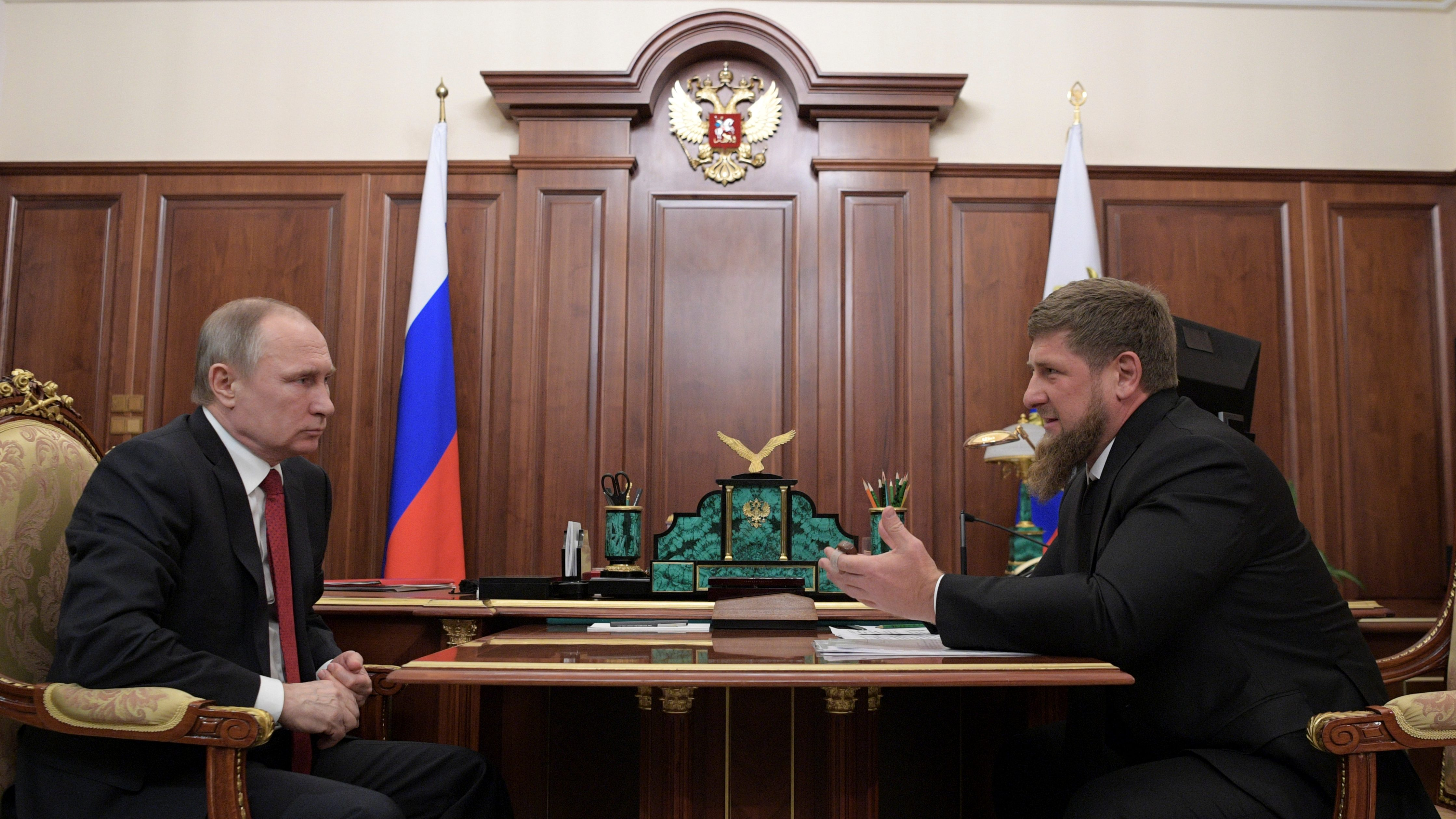 Russian President Vladimir Putin meets with Ramzan Kadyrov, head of the southern Russian region of Chechnya, at the Kremlin in Moscow, Russia April 19, 2017. Picture taken April 19, 2017. Sputnik/Aleksey Druzhinin/Kremlin via REUTERS ATTENTION EDITORS - THIS IMAGE WAS PROVIDED BY A THIRD PARTY. EDITORIAL USE ONLY. - RC1589BF43C0