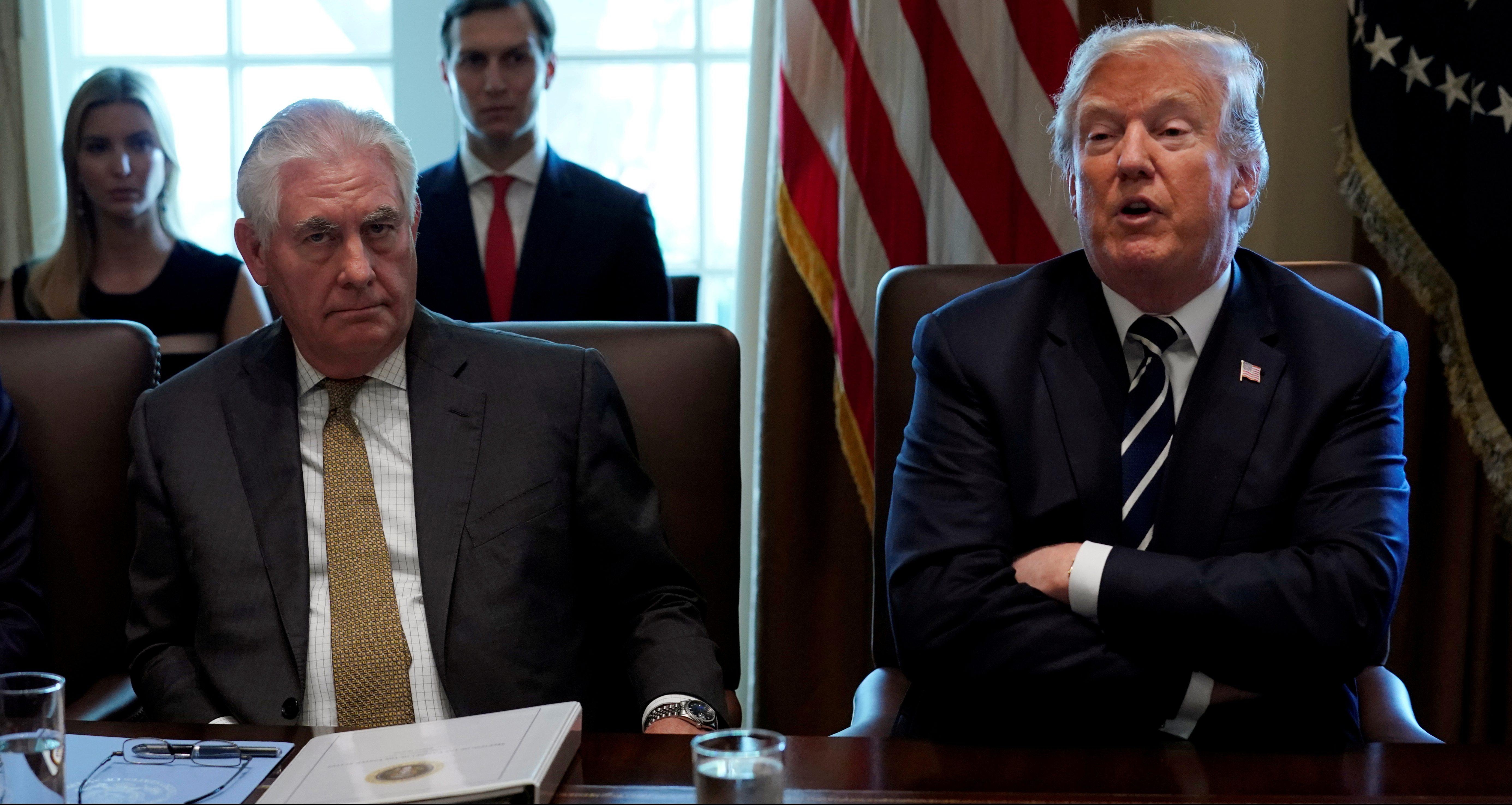 U.S. Secretary of State Rex Tillerson listens as President Donald Trump holds a cabinet meeting at the White House in Washington, U.S., October 16, 2017.