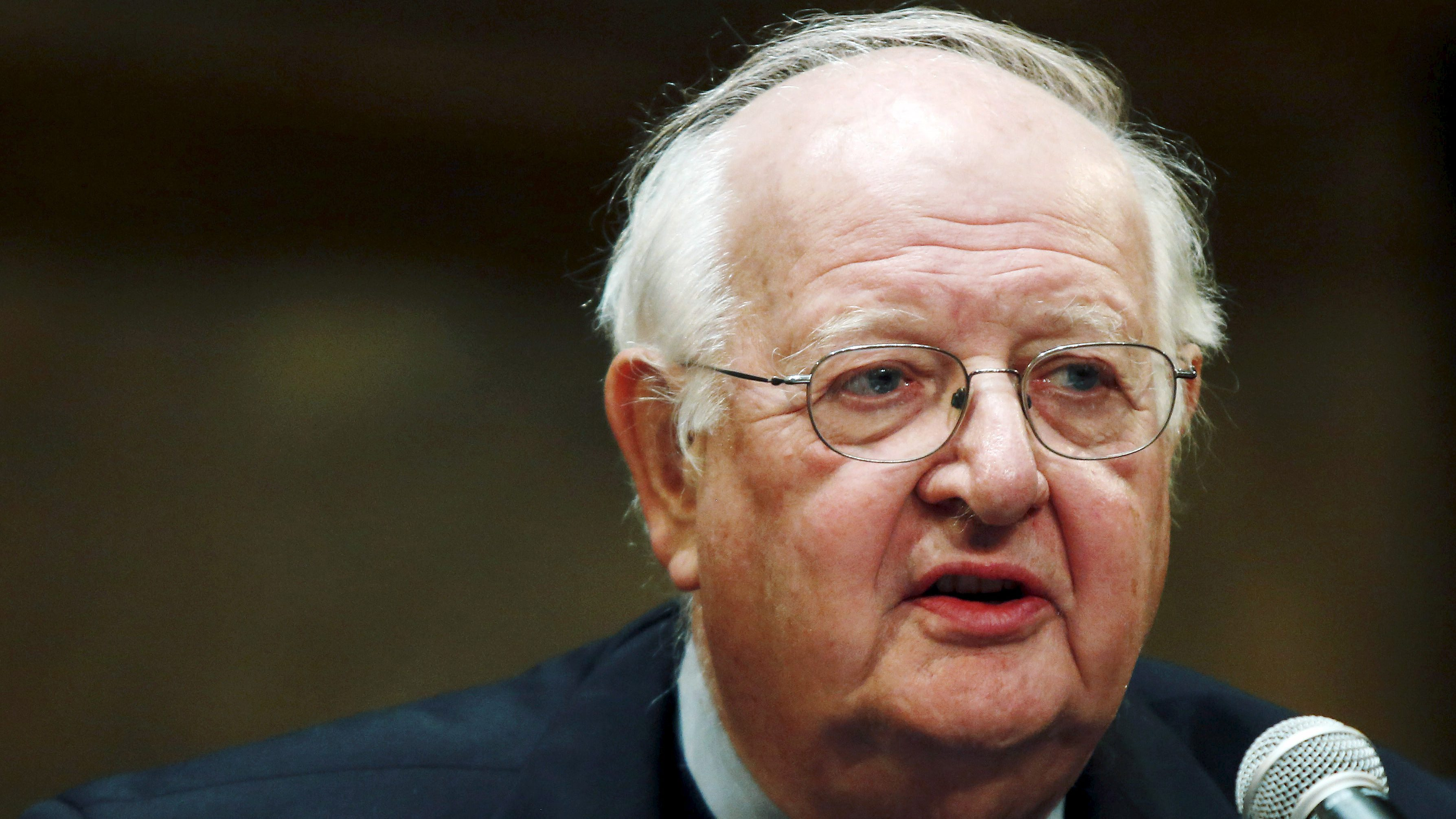 British-born economist Angus Deaton of Princeton University speaks in a news conference after winning the 2015 economics Nobel Prize on the Princeton University campus in Princeton