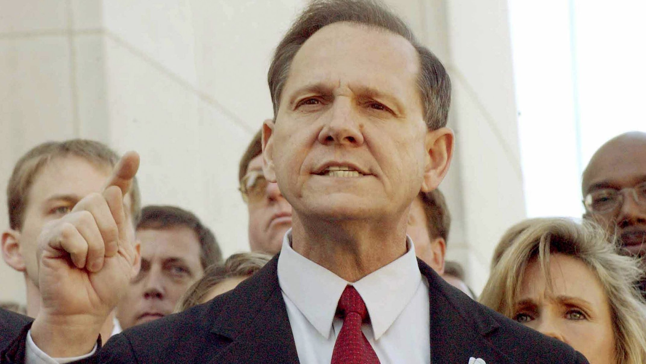 FILE PHOTO: Alabama Chief Justice Roy Moore faces the media after being removed from office in Montgomery, Alabama, U.S. November 13, 2003.  REUTERS/Bob Ealum/File Photo - TM3EC9U11T501