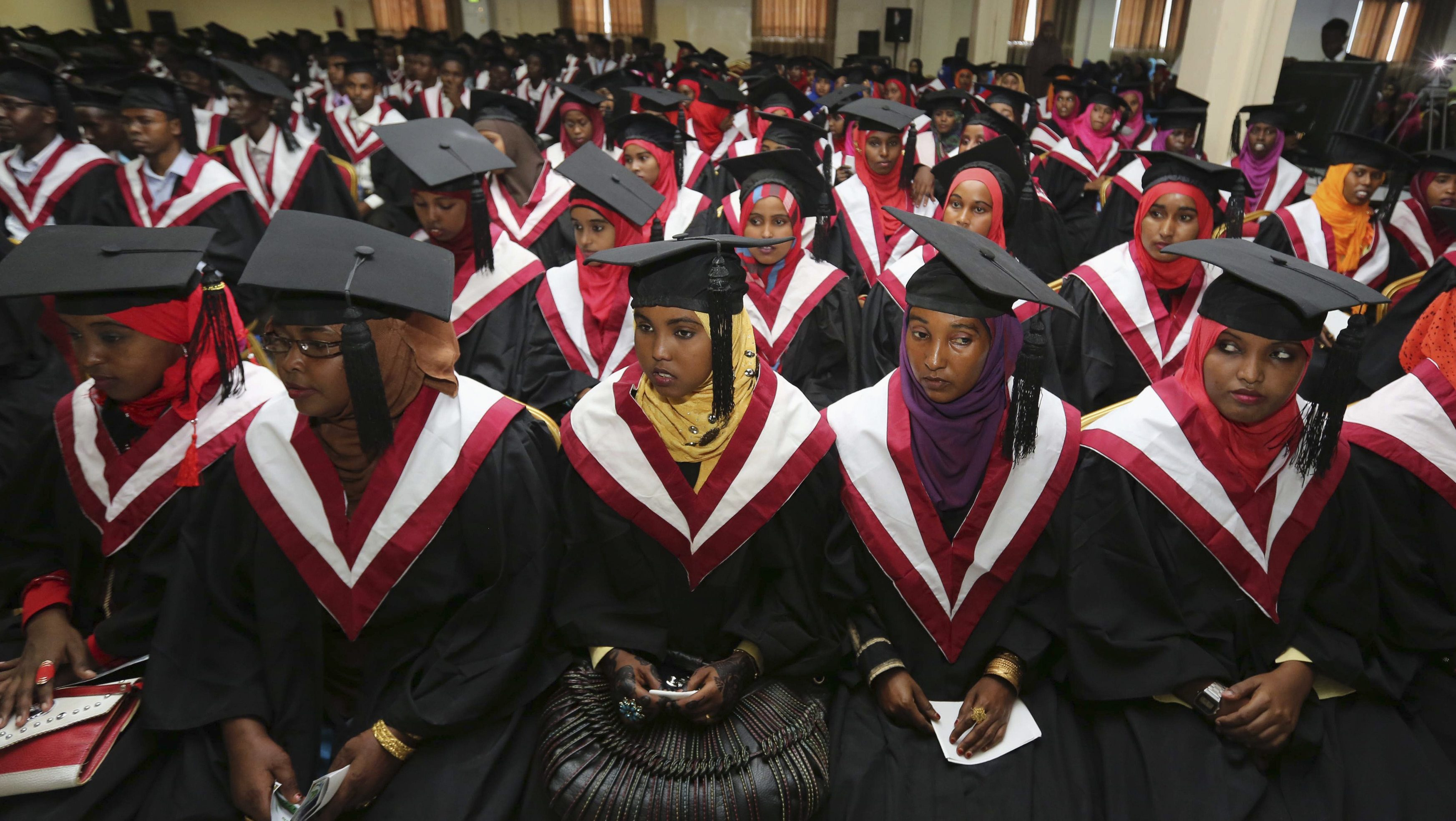 A section of 740 graduating students from Simad University, look on during their graduation ceremony, in the capital Mogadishu, November 28, 2013.
