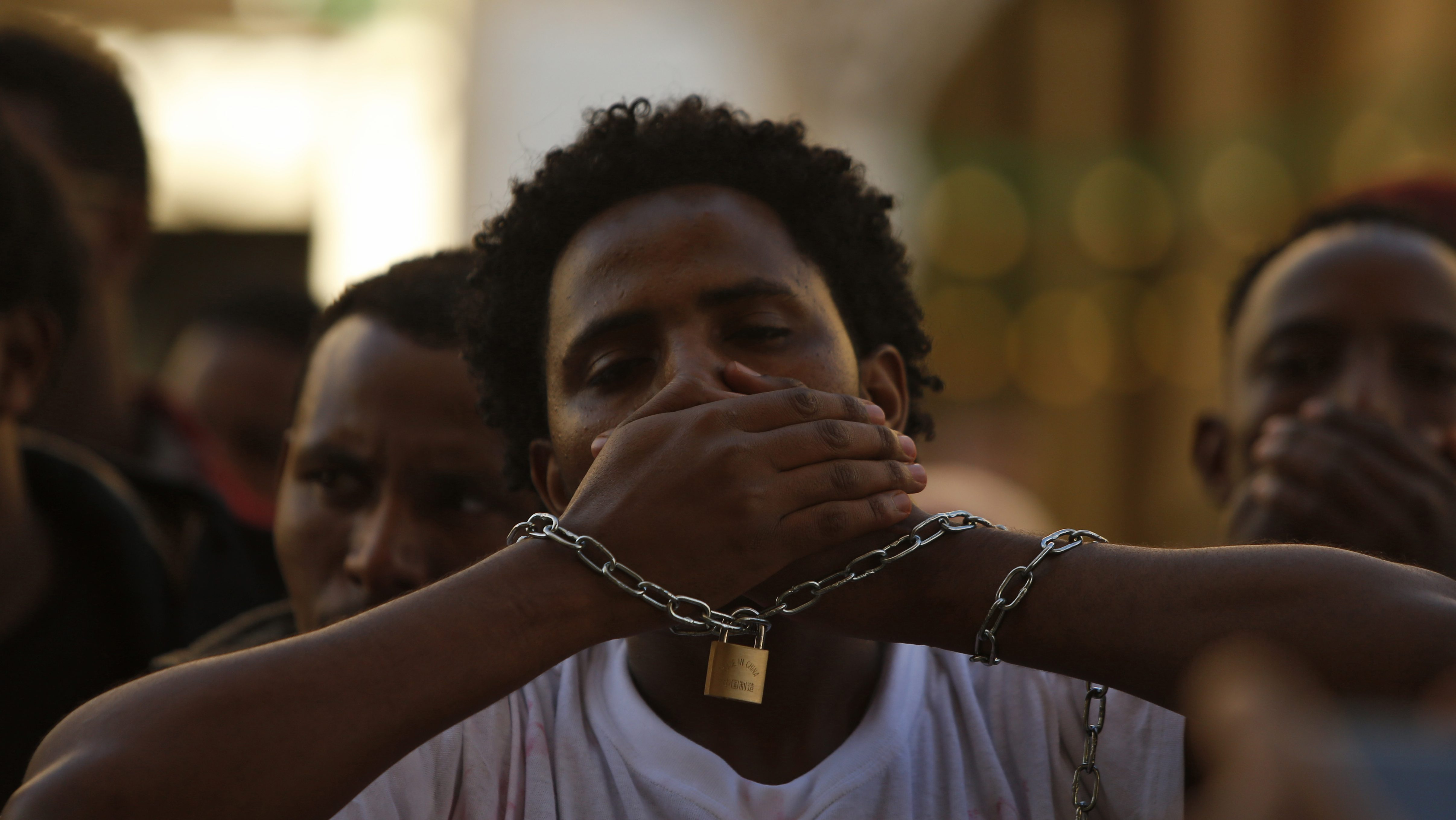Ethiopian migrants, all members of the Oromo community of Ethiopia living in Malta, protest against the Ethiopian regime in Valletta, Malta, December 21, 2015. Protesters are calling on Malta and the European Union to stop support for the Ethiopian regime, and protested against the regime's plan to evict Oromo farmers to expand Ethiopia's capital Addis Ababa, according to the protest organisers.