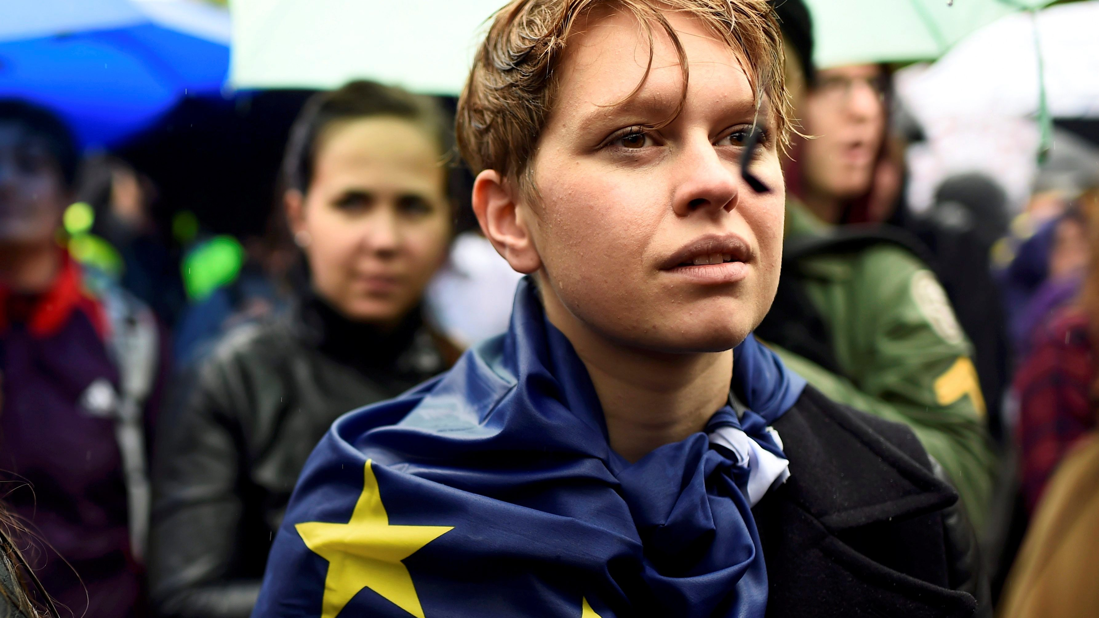 Demonstrators take part in a protest aimed at showing London's solidarity with the European Union