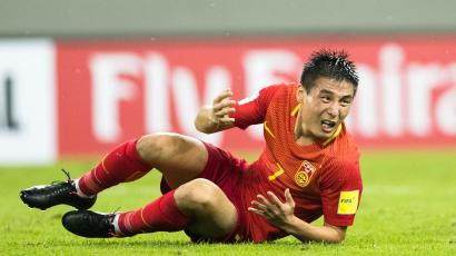 Football Soccer - China v Iran - 2018 World Cup Qualifying Asia Zone - Group A - Shenyang, China - 6/9/16 - Wu Lei of China reacts as he falls. REUTERS/Stringer ATTENTION EDITORS - THIS PICTURE WAS PROVIDED BY A THIRD PARTY. EDITORIAL USE ONLY. CHINA OUT. NO COMMERCIAL OR EDITORIAL SALES IN CHINA. - D1AETZTGXTAB