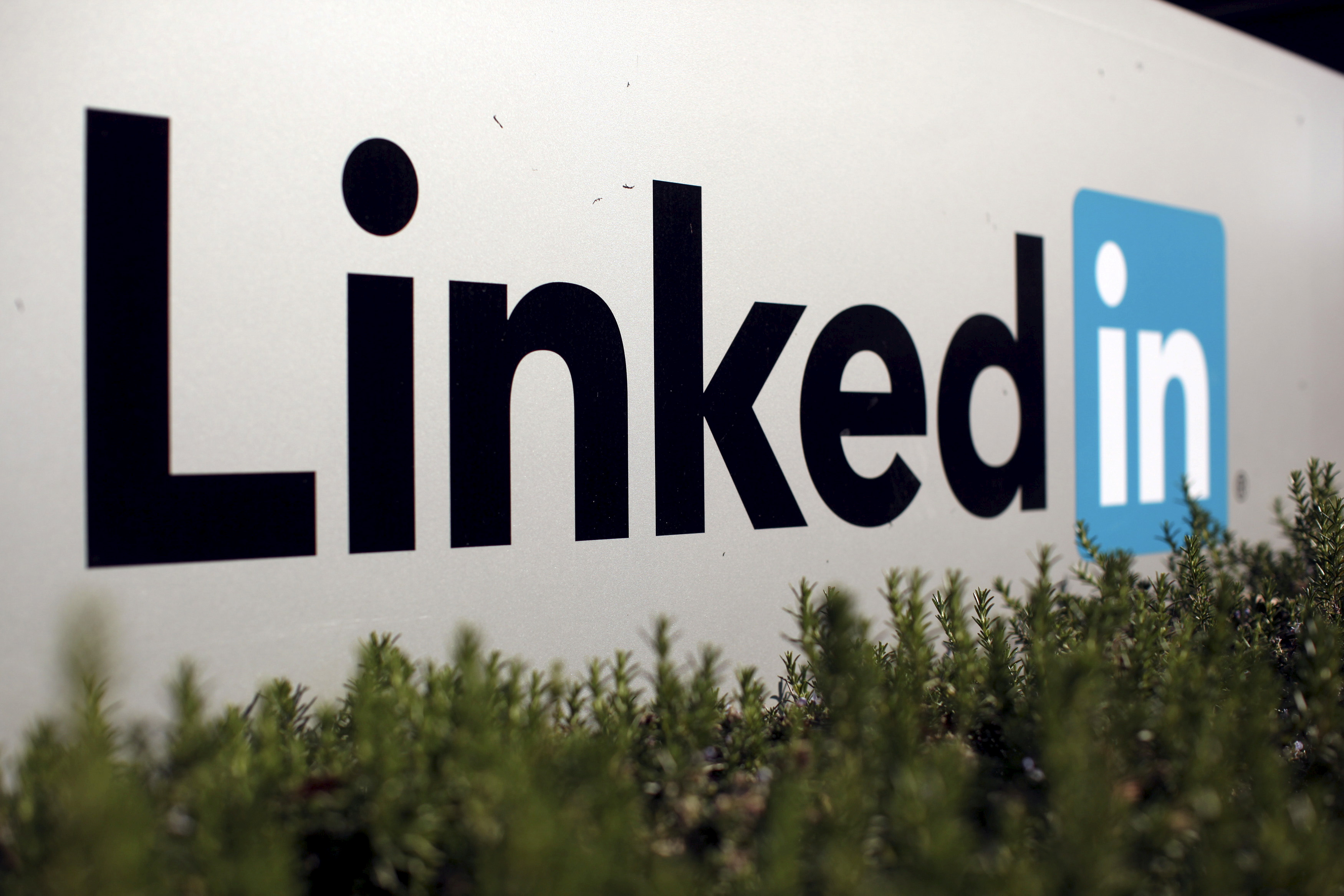 A photograph of a LinkedIn sign