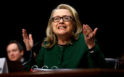 US Secretary of State Hillary Clinton responds forcefully to intense questioning on the September attacks on U.S. diplomatic sites in Benghazi, Libya, during a Senate Foreign Relations Committee hearing on Capitol Hill in Washington.