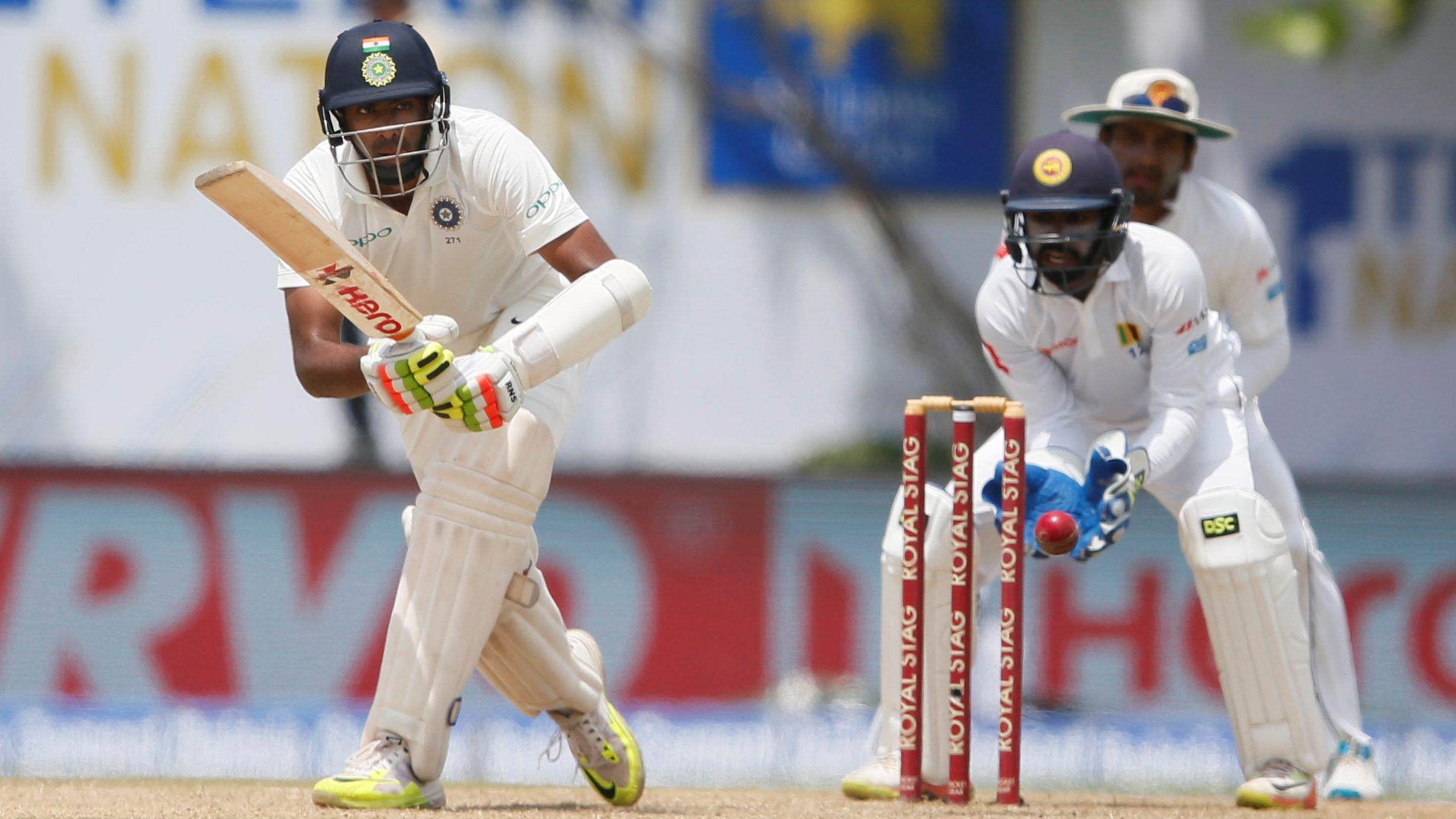Ravichandran Ashwin plays a shot in a test cricket game