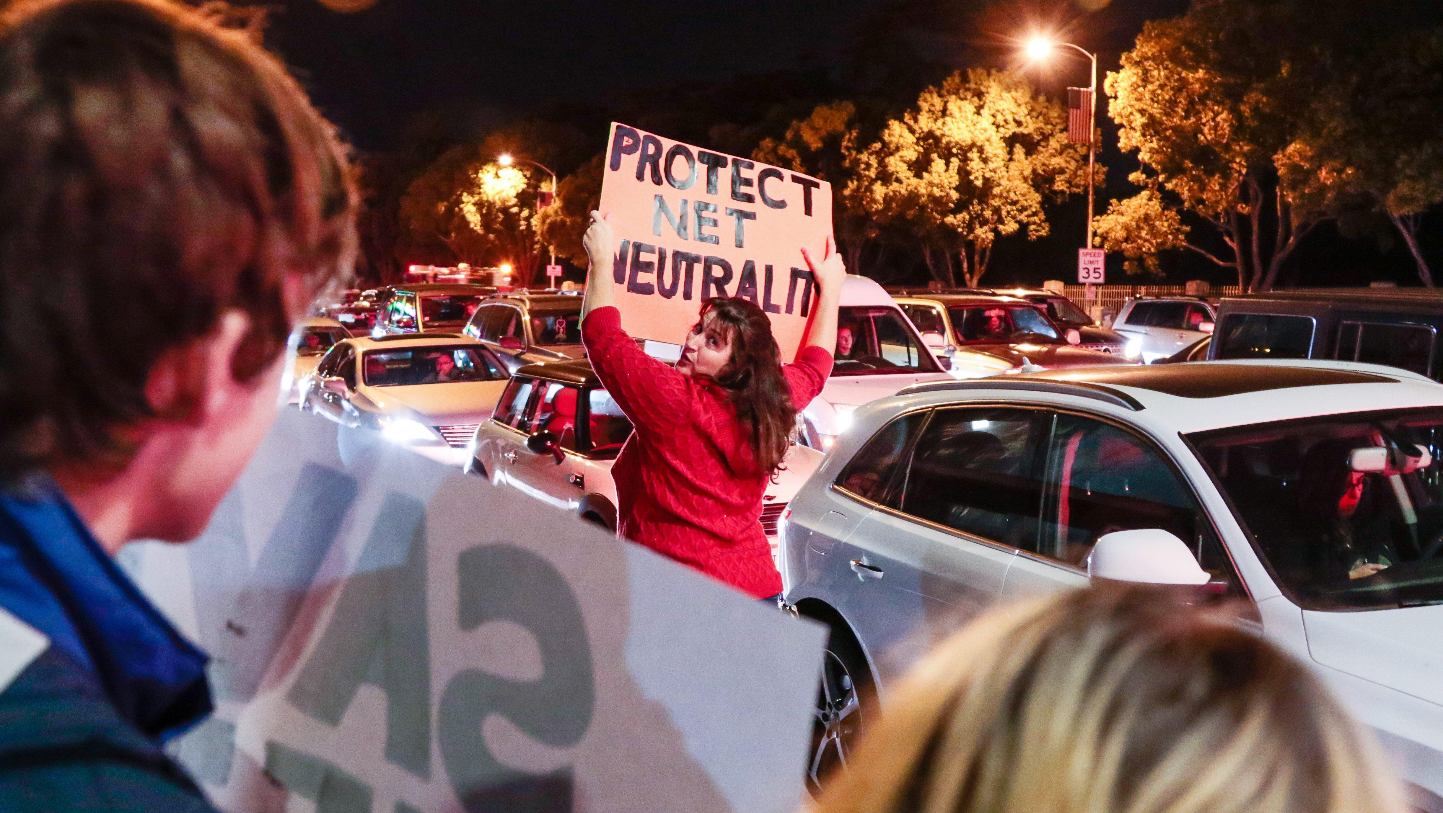 Net Neutrality advocates gather in Valley Glen, California, November 28.