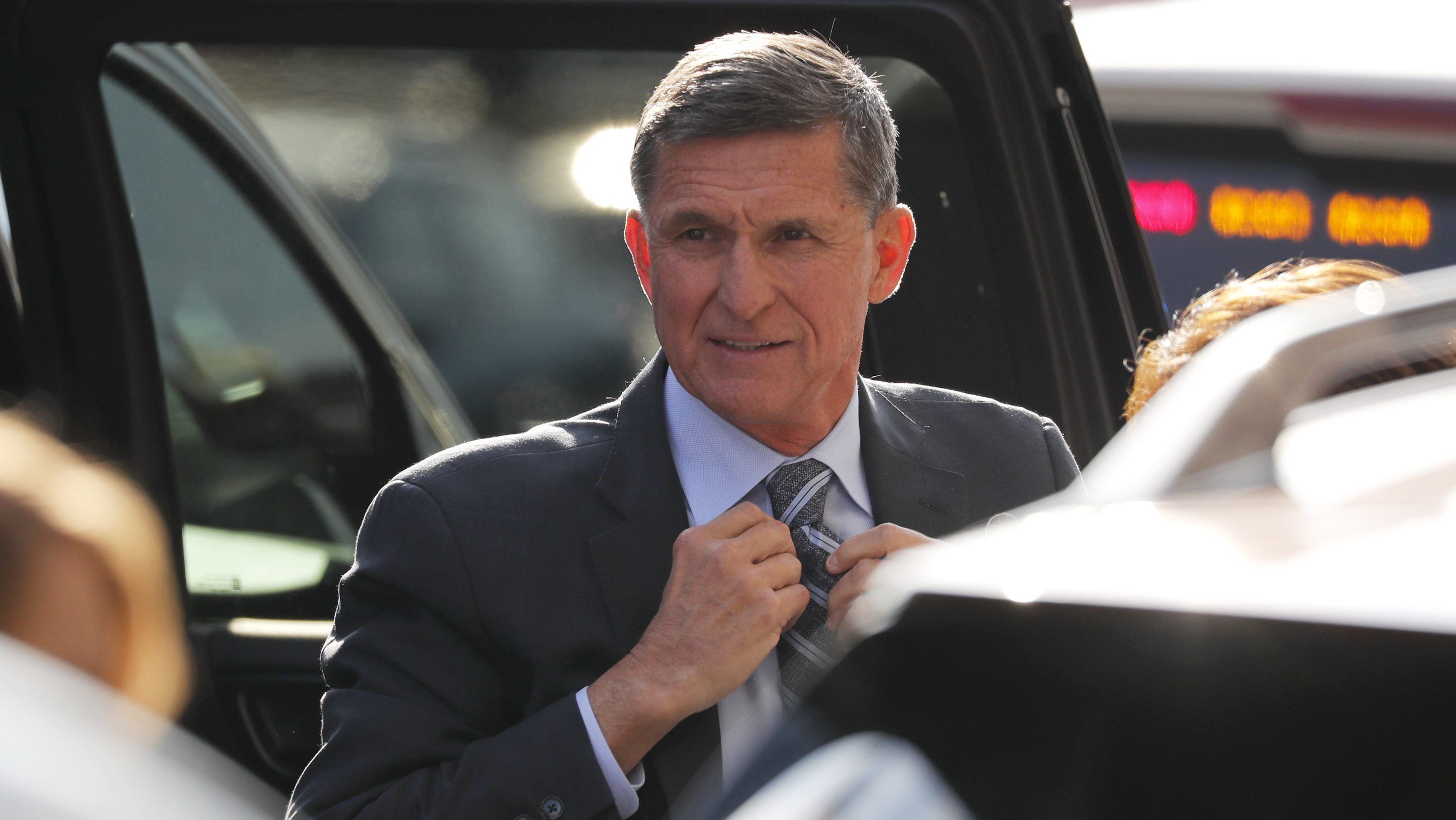 Former U.S. National Security Adviser Michael Flynn arrives for a plea hearing at U.S. District Court in Washington