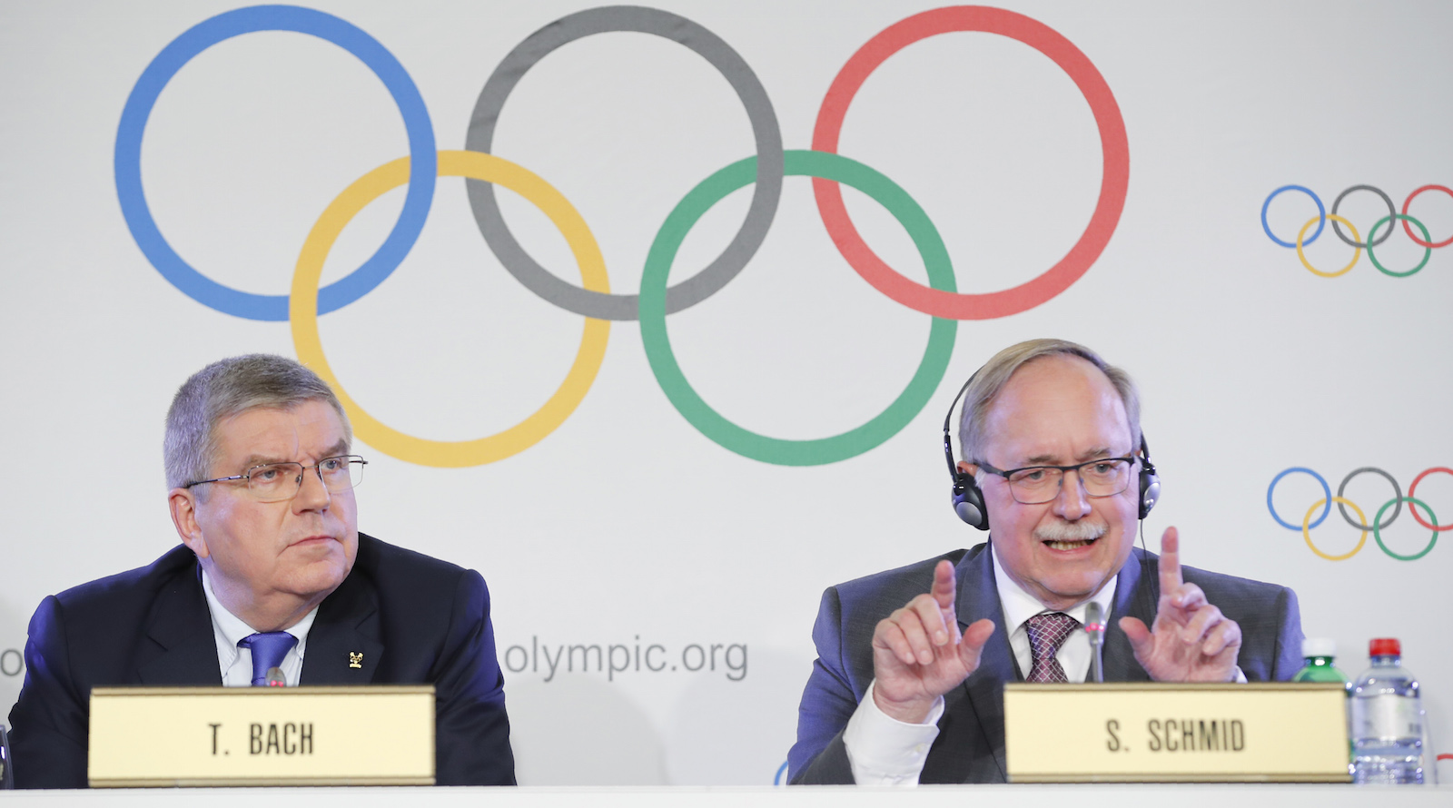 Samuel Schmid, Chair of the IOC Disciplinary Commission, and Thomas Bach, President of the International Olympic Committee, attend a news conference after an Executive Board meeting on sanctions for Russian athletes, in Lausanne, Switzerland, December 5, 2017.