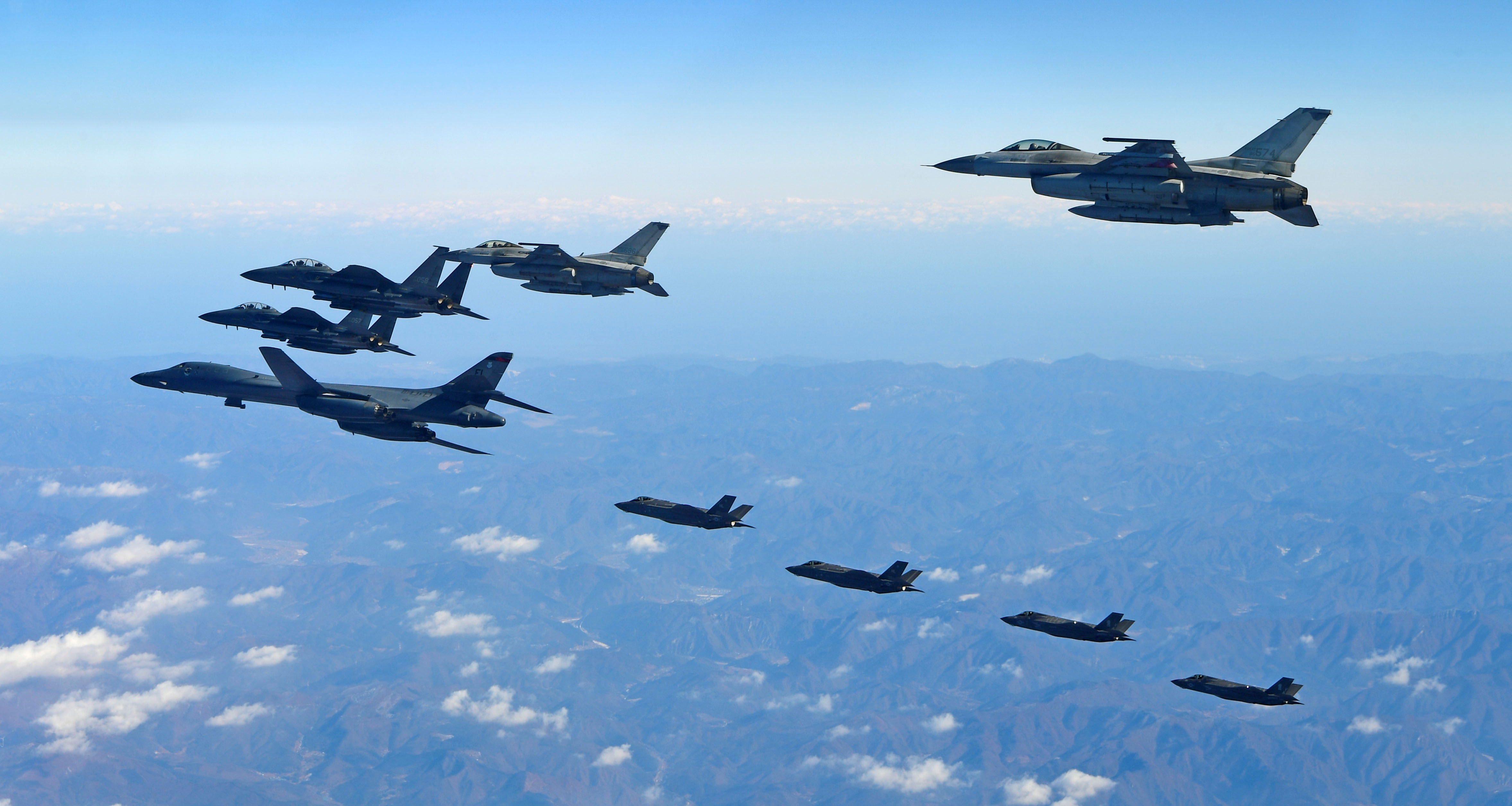 U.S. Air Force B-1B bomber flies in formation during a joint aerial drill called 'Vigilant Ace' between U.S and South Korea, South Korea December 6, 2017.