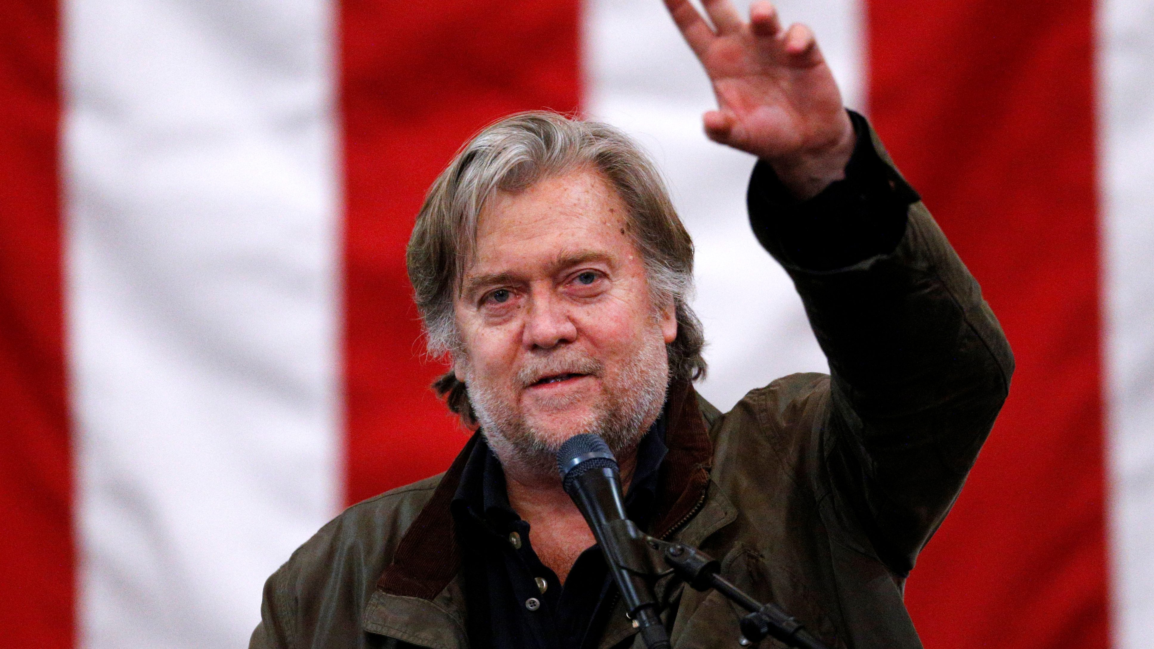 Former White House Chief Strategist Steve Bannon speaks during a campaign rally for Republican candidate for U.S. Senate Judge Roy Moore in Midland City, Alabama, U.S., December 11, 2017.  REUTERS/Jonathan Bachman - RC1F0BDDAA70