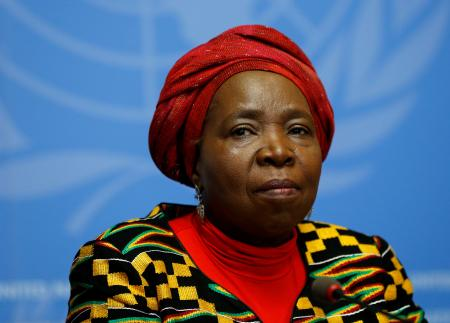 Nkosazana Clarice Dlamini-Zuma, African Union Commission Chairperson and former South African Minister of Health, Minister of Foreign Affairs, and Minister of Home Affairs attends a news conference at the European headquarters of the United Nations in Geneva, Switzerland, May 24, 2016.