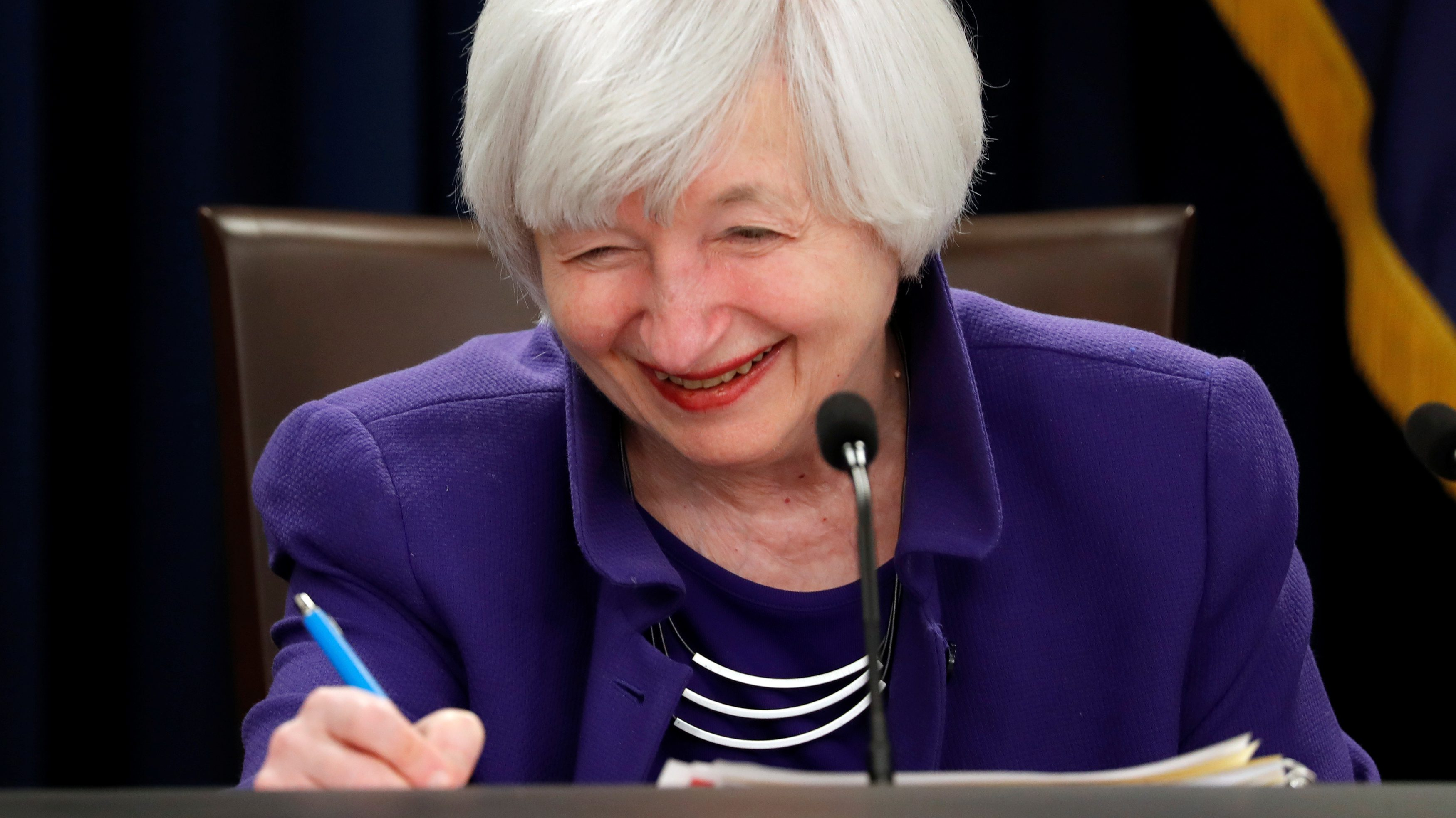 Yellen holds a news conference in Washington