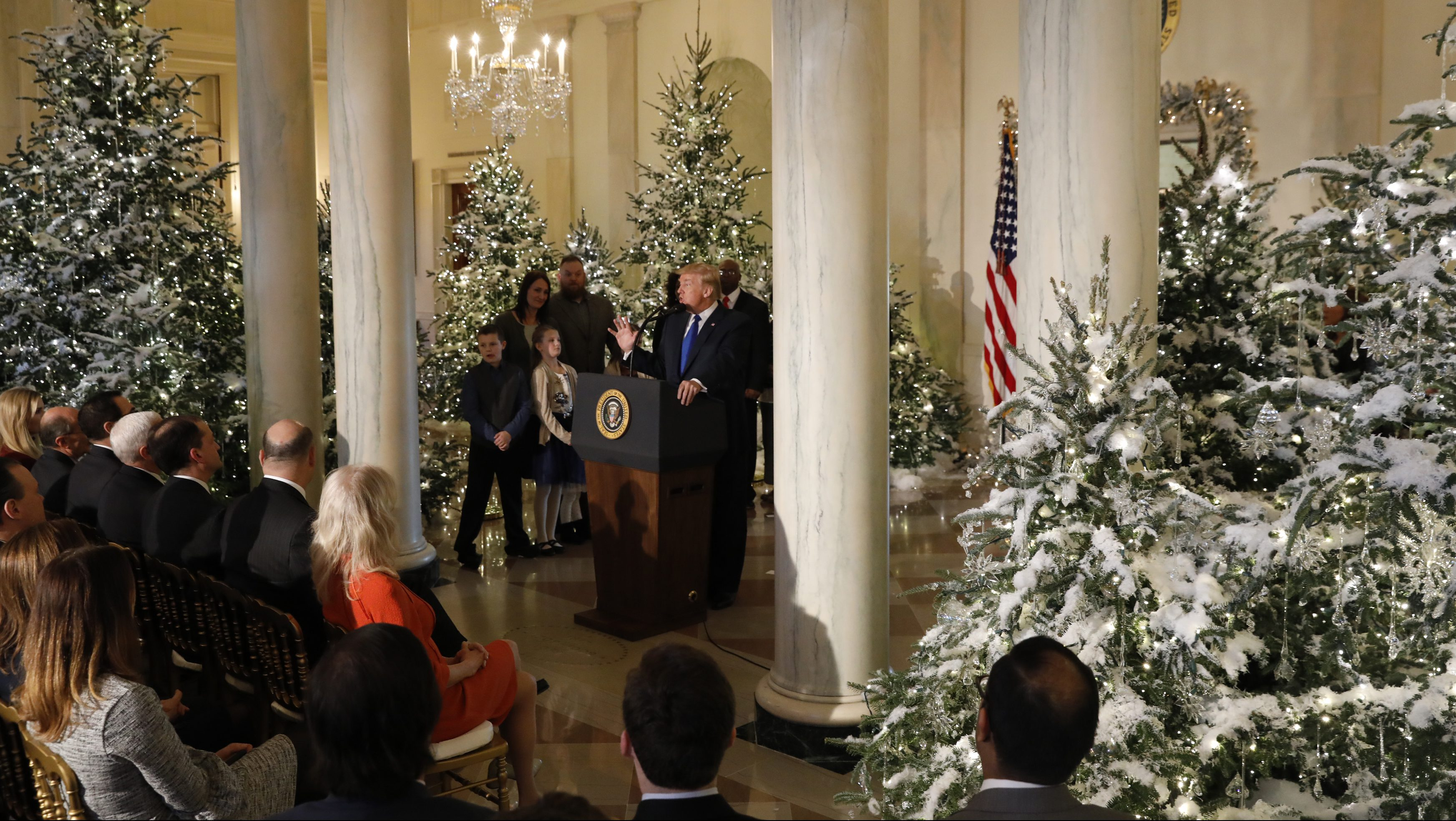 U.S. President Donald Trump delivers a speech on tax reform legislation from the Grand Foyer at the White House in Washington, U.S., December 13, 2017.