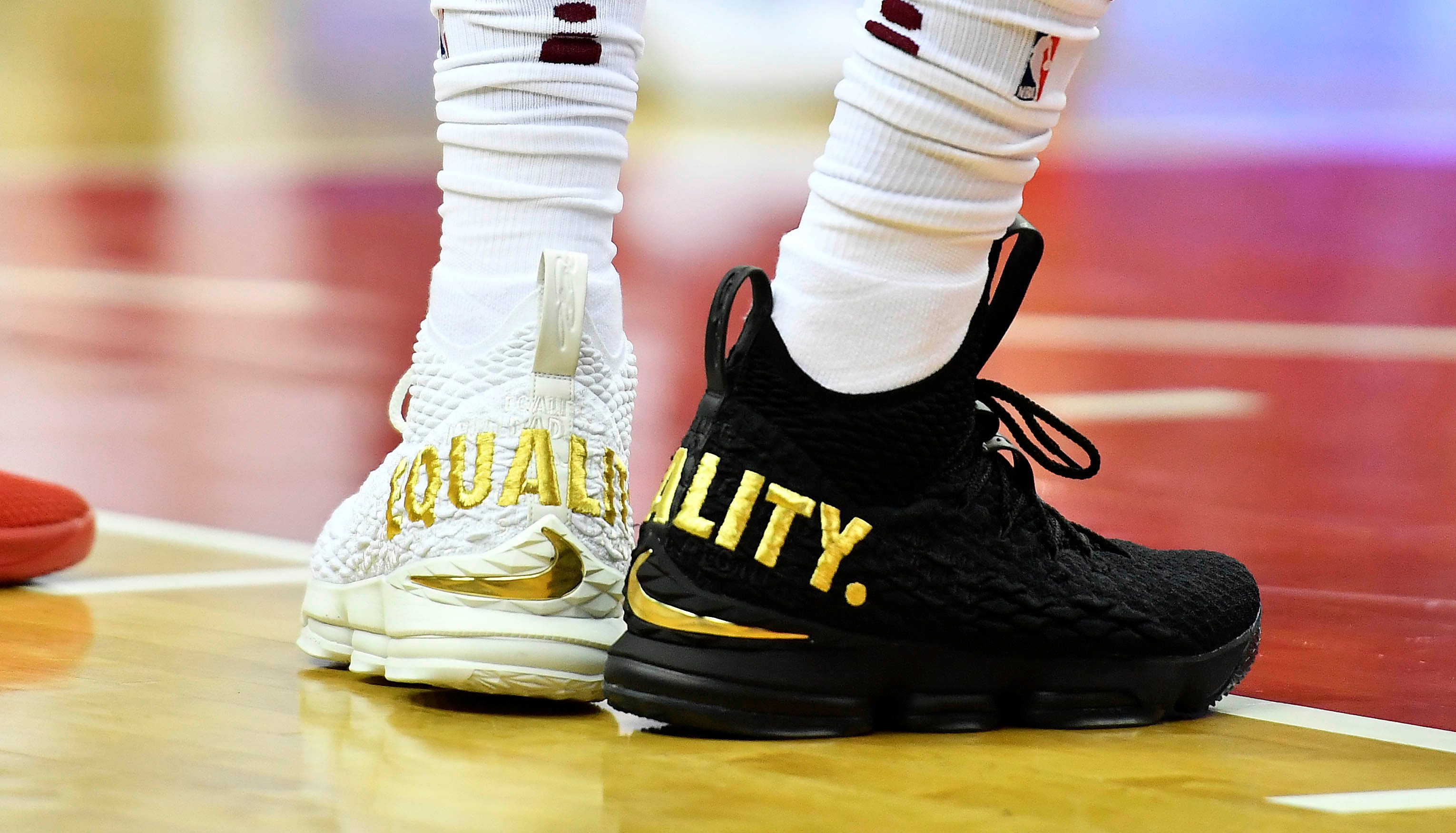 "The meaning of LeBron James  black and white ""equality"" sneakers ... 31663bc804ae"