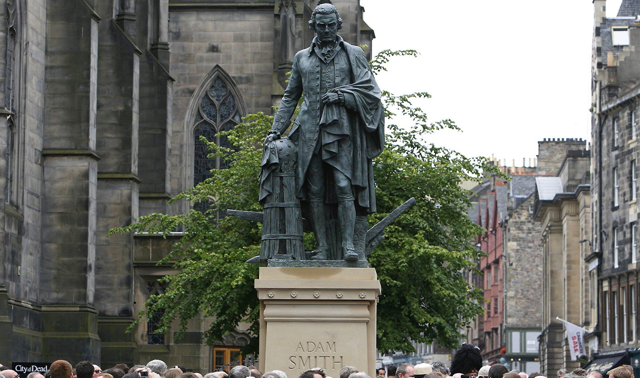 A statue of Adam Smith.