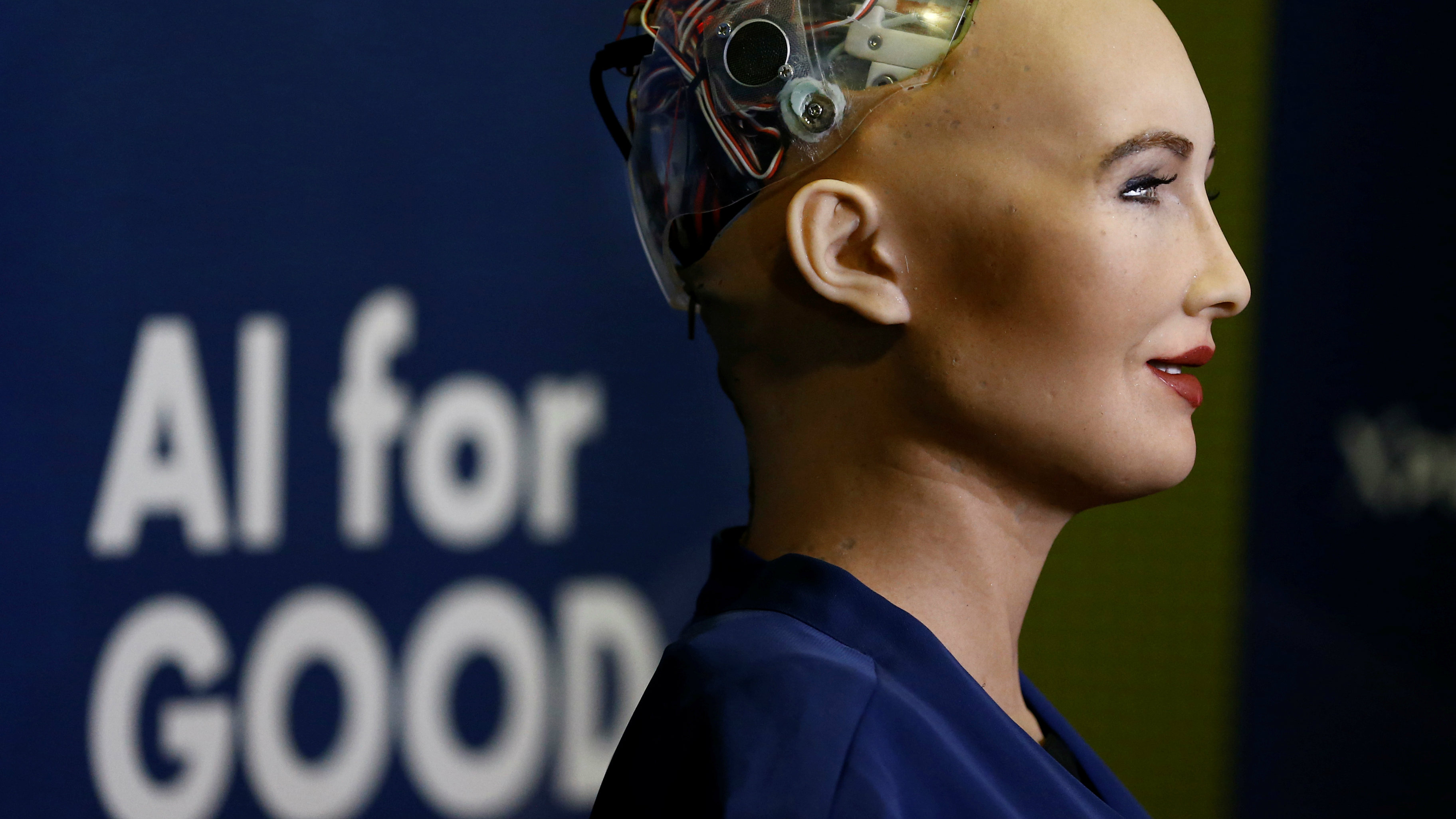 """Sophia robot at the """"AI for Good"""" Global Summit"""