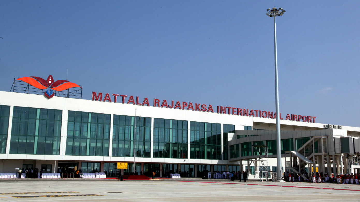 The main terminal building of Sri Lanka's second and first newly constructed Mattala Mahinda Rajapaksa International Airport at Mattala in Hambantota 238kms south of Colombo, Sri Lanka 18 March 2013. The Mattala Mahinda Rajapaksa International Airport at Mattala constructed within three years and 51 days becomes Sri Lanka's newest international airport and the first to be newly constructed. China provided monetary assistance while technical expertise was from both countries to turn this once wildlife infested scrub jungle into this modern edifice. This eco-airport will enhance the development of the island nation with its close proximity to class tourist attractions and also the so far neglected southern regions.