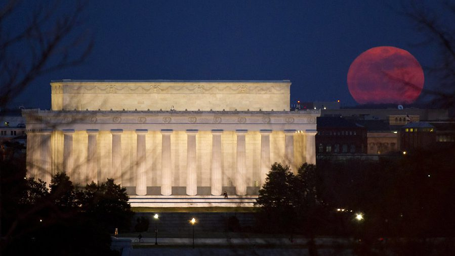 A supermoon rises near the Lincoln Memorial on March 19, 2011, in Washington, D.C.