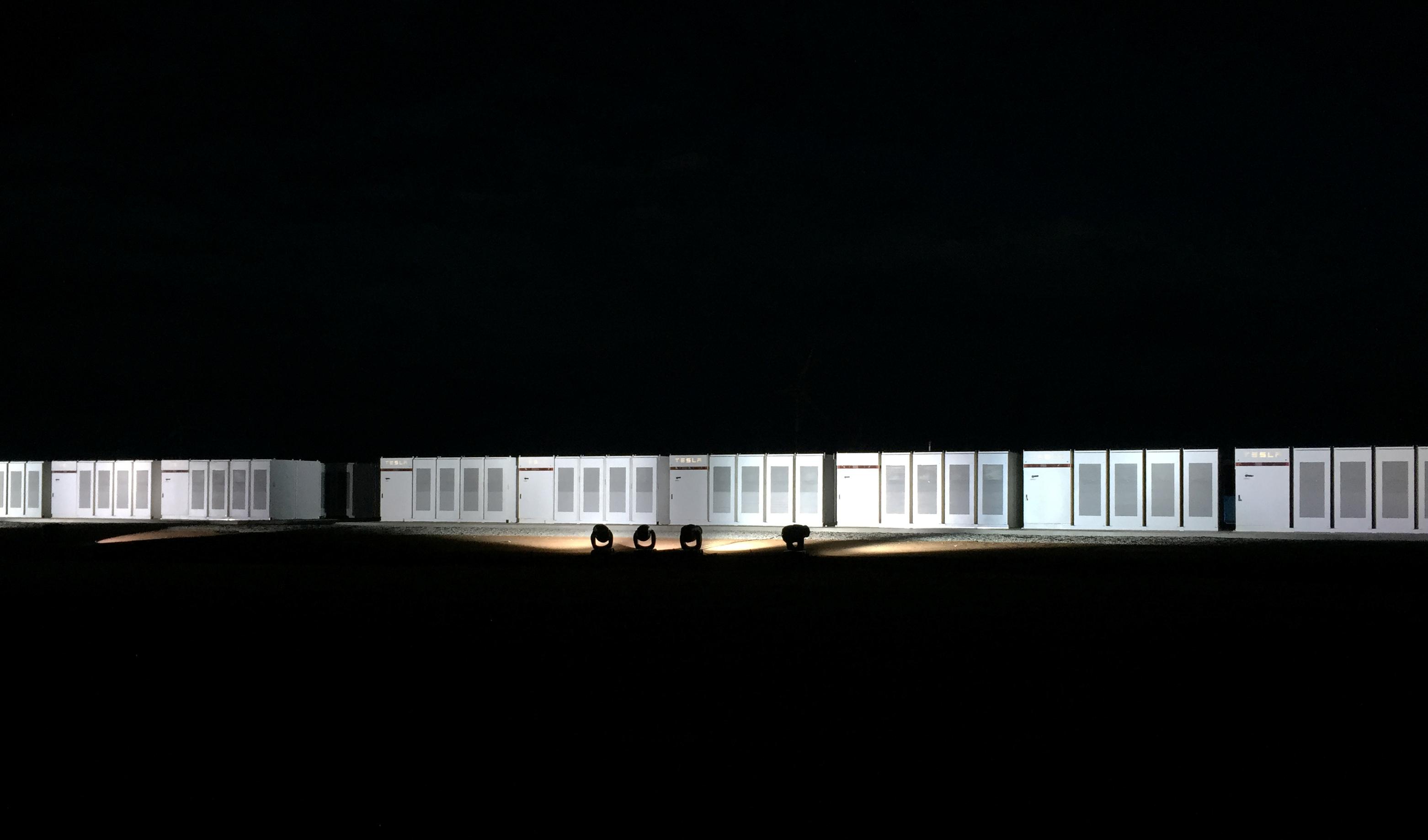 Tesla Powerpacks at Neoen wind farm in Hornsdale, South Australia September 29, 2017. Picture taken September 29, 2017.