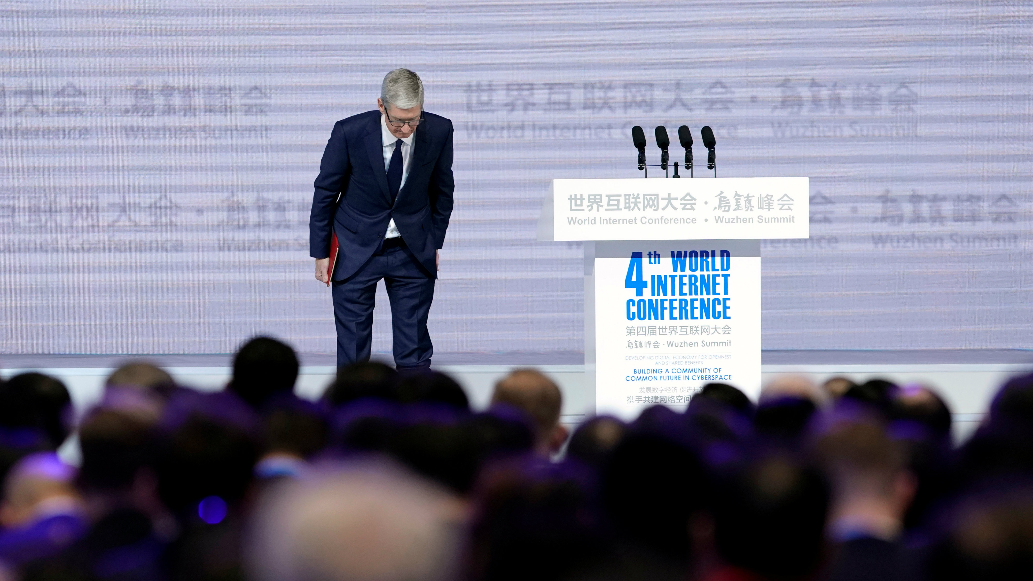 Apple CEO Tim Cook attends the opening ceremony of the fourth World Internet Conference in Wuzhen, Zhejiang province, China,