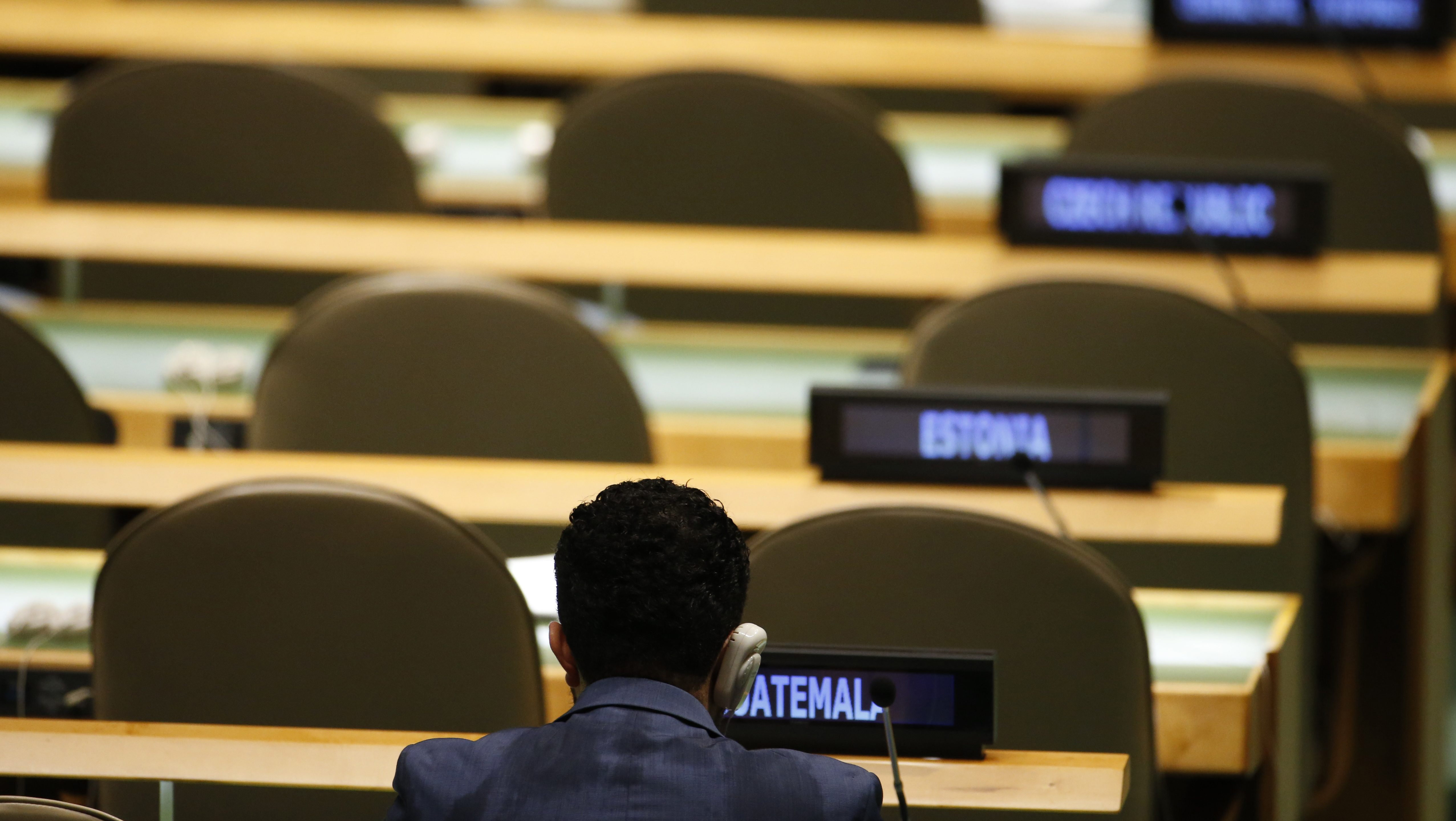 An almost empty General Assembly Hall is seen as President Rosen Plevneliev of Bulgaria addresses attendees during the 70th session of the United Nations General Assembly at the U.N. headquarters in New York, September 30, 2015.