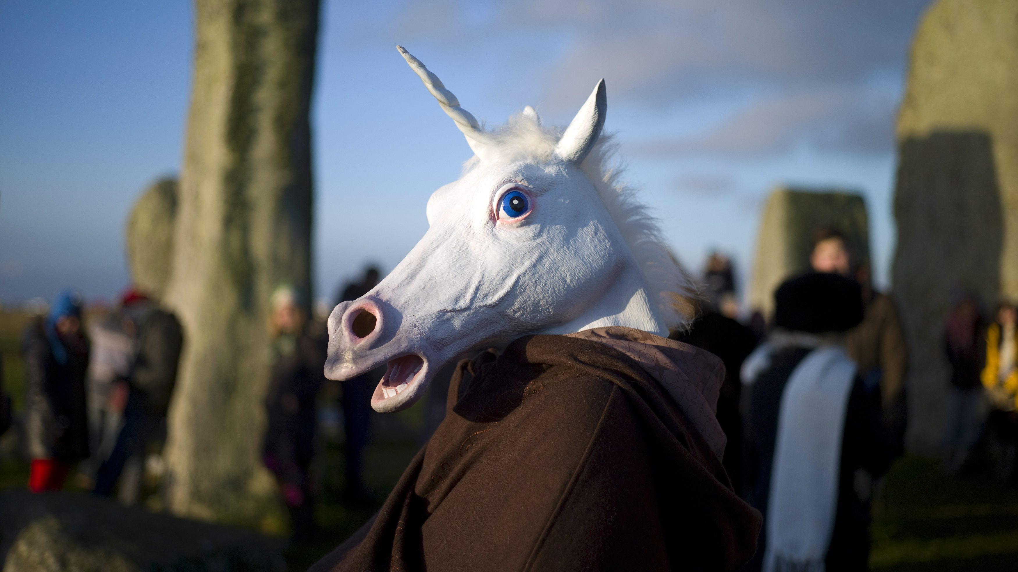 A reveller, dressed as a unicorn, celebrates the sunrise during the winter solstice at Stonehenge on Salisbury Plain in southern England December 21, 2012. The winter solstice is the shortest day of the year, and the longest night of the year. REUTERS/Kieran Doherty  (BRITAIN - Tags: ANNIVERSARY ENVIRONMENT SOCIETY TPX IMAGES OF THE DAY) - GM1E8CL1LWW01