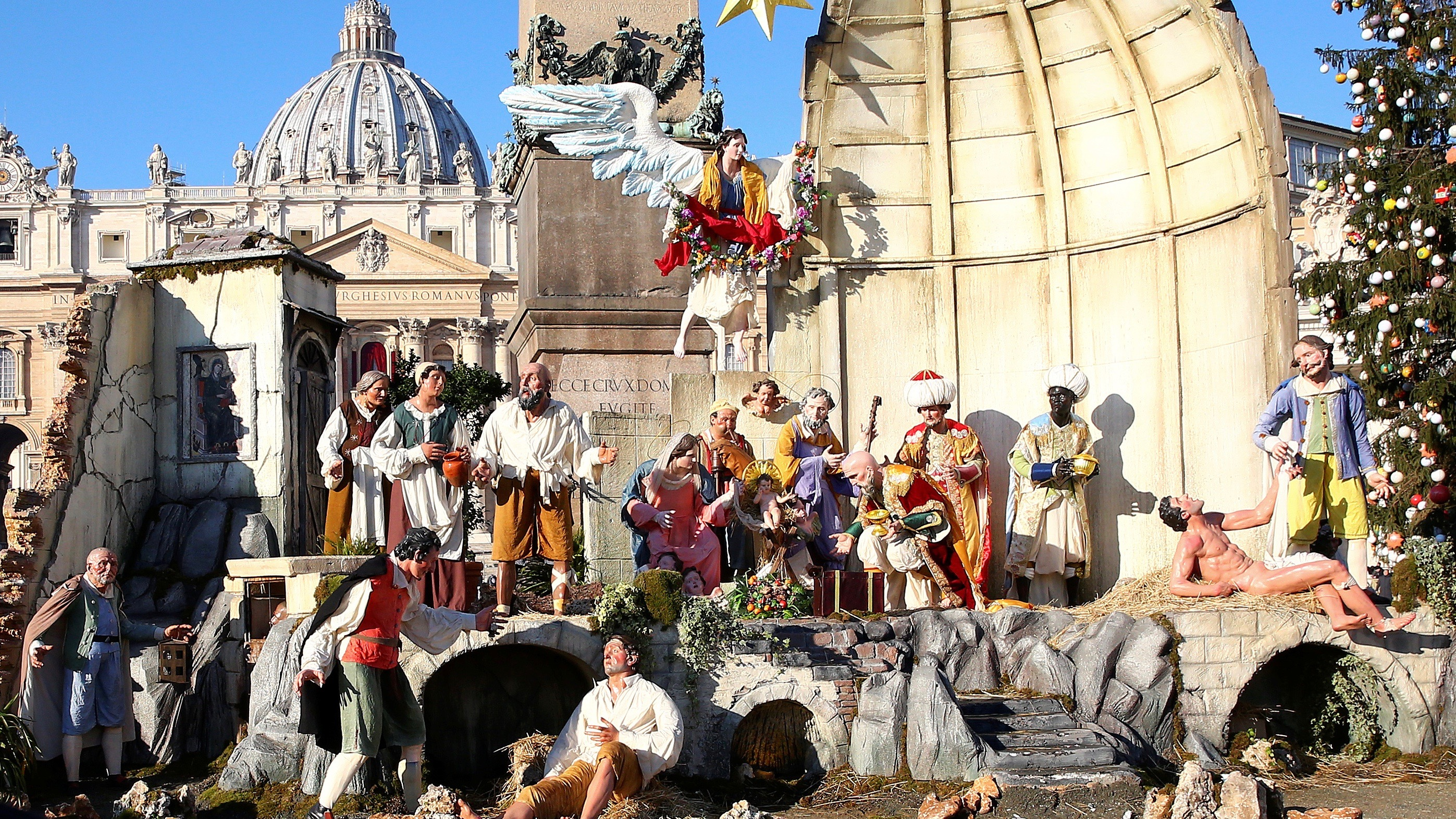 The nativity scene at St. Peter's Basilica in Rome, Christmas 2017.