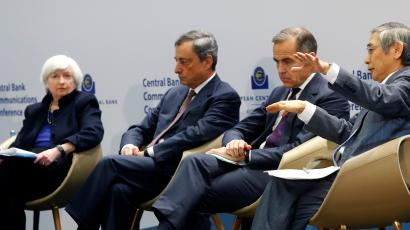 Central Bank Governors Janet Yellen of the Federal Reserve, Mario Draghi of the European Central Bank, Mark Carney of the Bank of England and Haruhiko Kuroda of the Bank of Japa