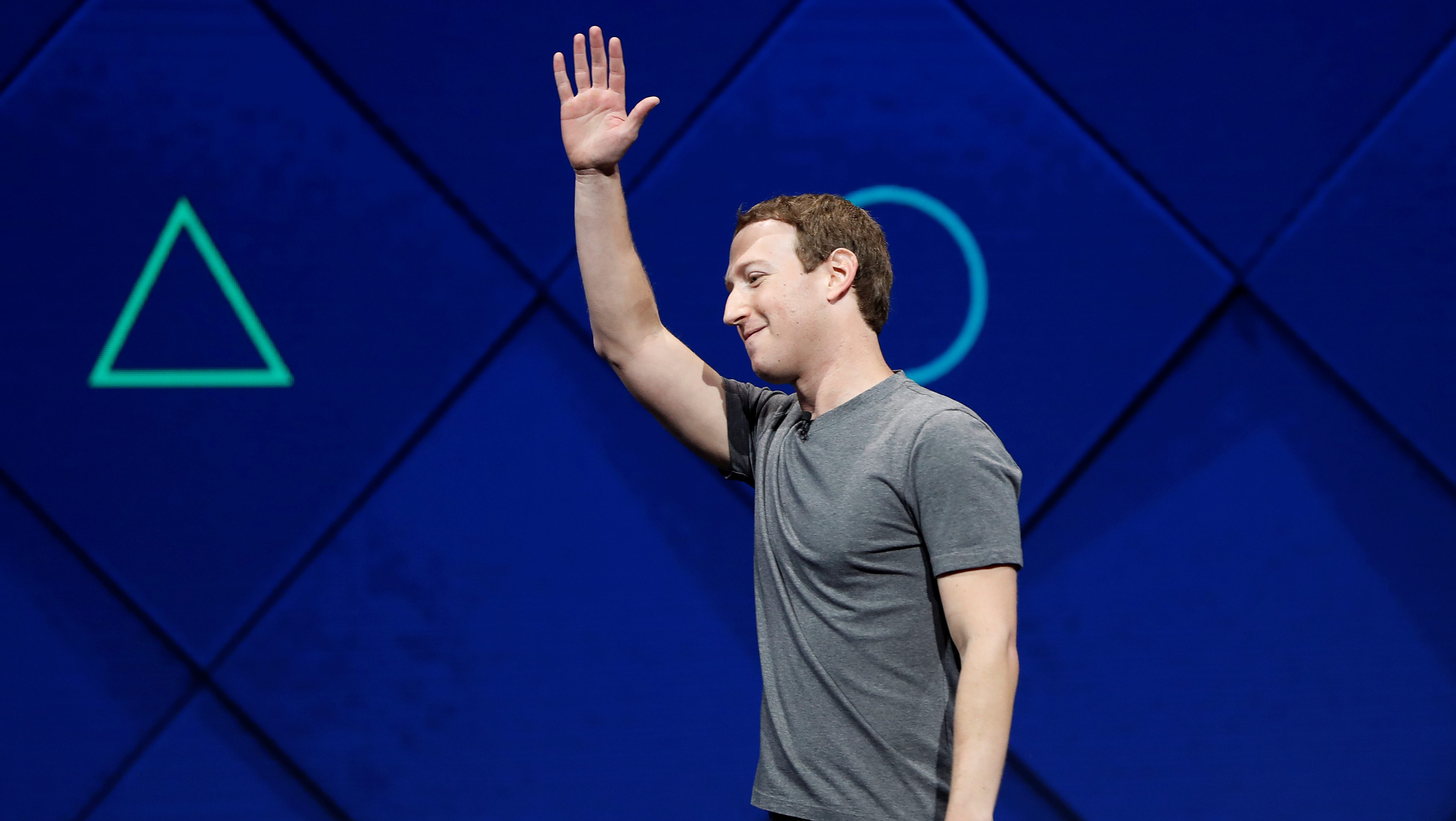 Facebook Founder and CEO Mark Zuckerberg waves as he leaves the stage during the annual Facebook F8 developers conference in San Jose, California, U.S., April 18, 2017.