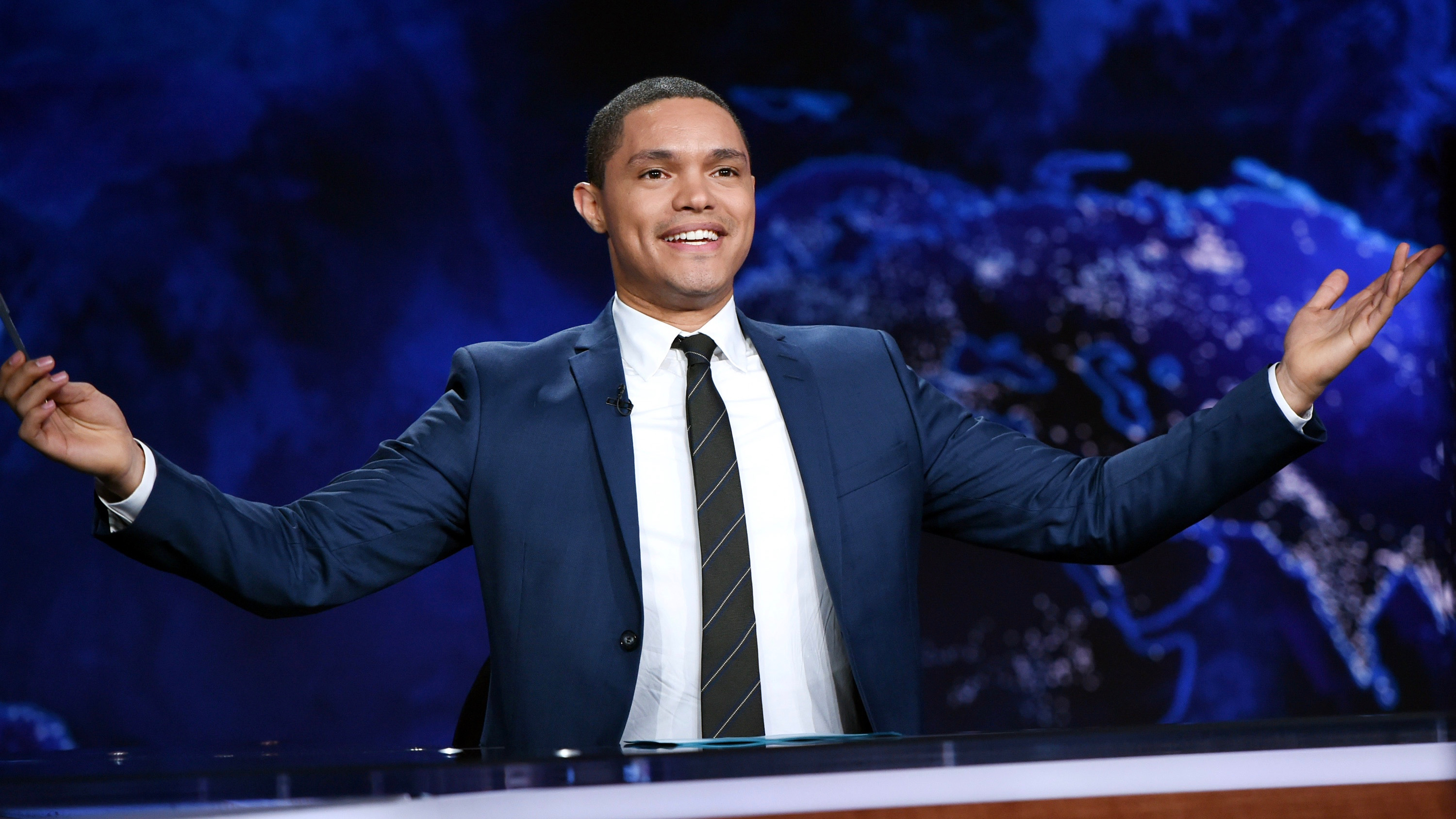 """Trevor Noah on set during a taping of """"The Daily Show with Trevor Noah"""" on Tuesday, Sept. 29, 2015, in New York. (Photo by Evan Agostini/Invision/AP)"""