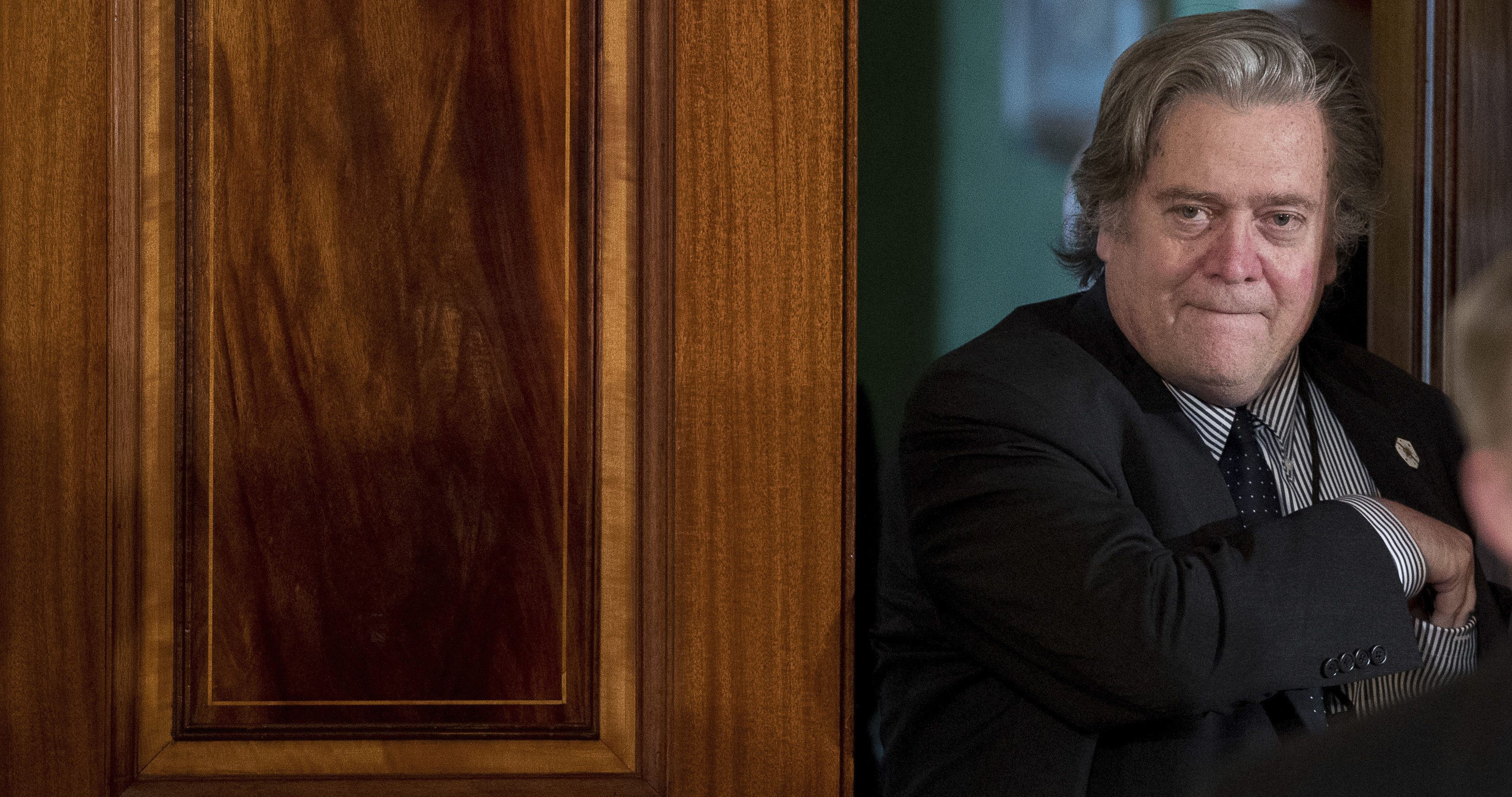 President Donald Trump's White House Senior Adviser Steve Bannon arrives before a news conference between President Donald Trump and Italian Prime Minister Paolo Gentiloni in the East Room of the White House in Washington, Thursday, April 20, 2017.