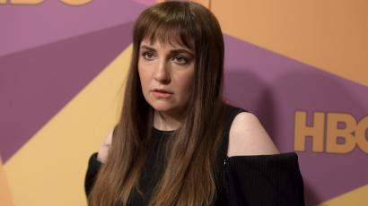Lena Dunham arrives at the HBO Golden Globes afterparty