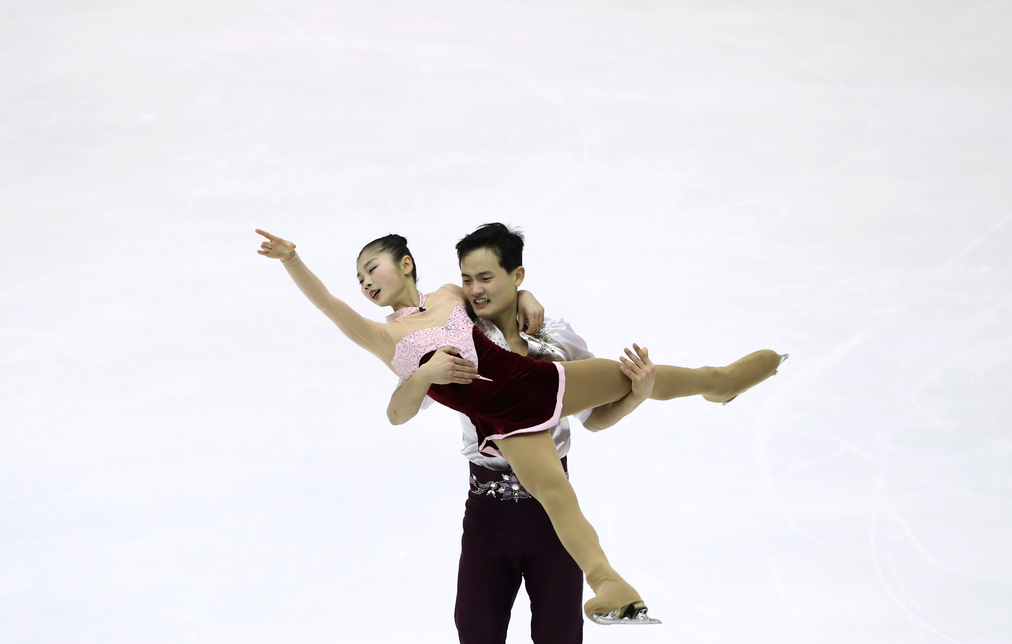 Ryom Tae Ok and Kim Ju Sik of North Korea perform in the Pairs Free Skating program of Figure Skating competition at Makomanai Indoor Skating Rink at the Asian Winter Games in Sapporo, northern Japan, Saturday, Feb. 25, 2017.