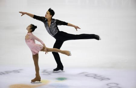 Ryom Tae Ok and Kim Ju Sik of North Korea perform during the Pairs Short Program of the Taiwan ISU Four Continents Figure Skating Championships in Taipei, Taiwan, Thursday, Feb. 18, 2016.