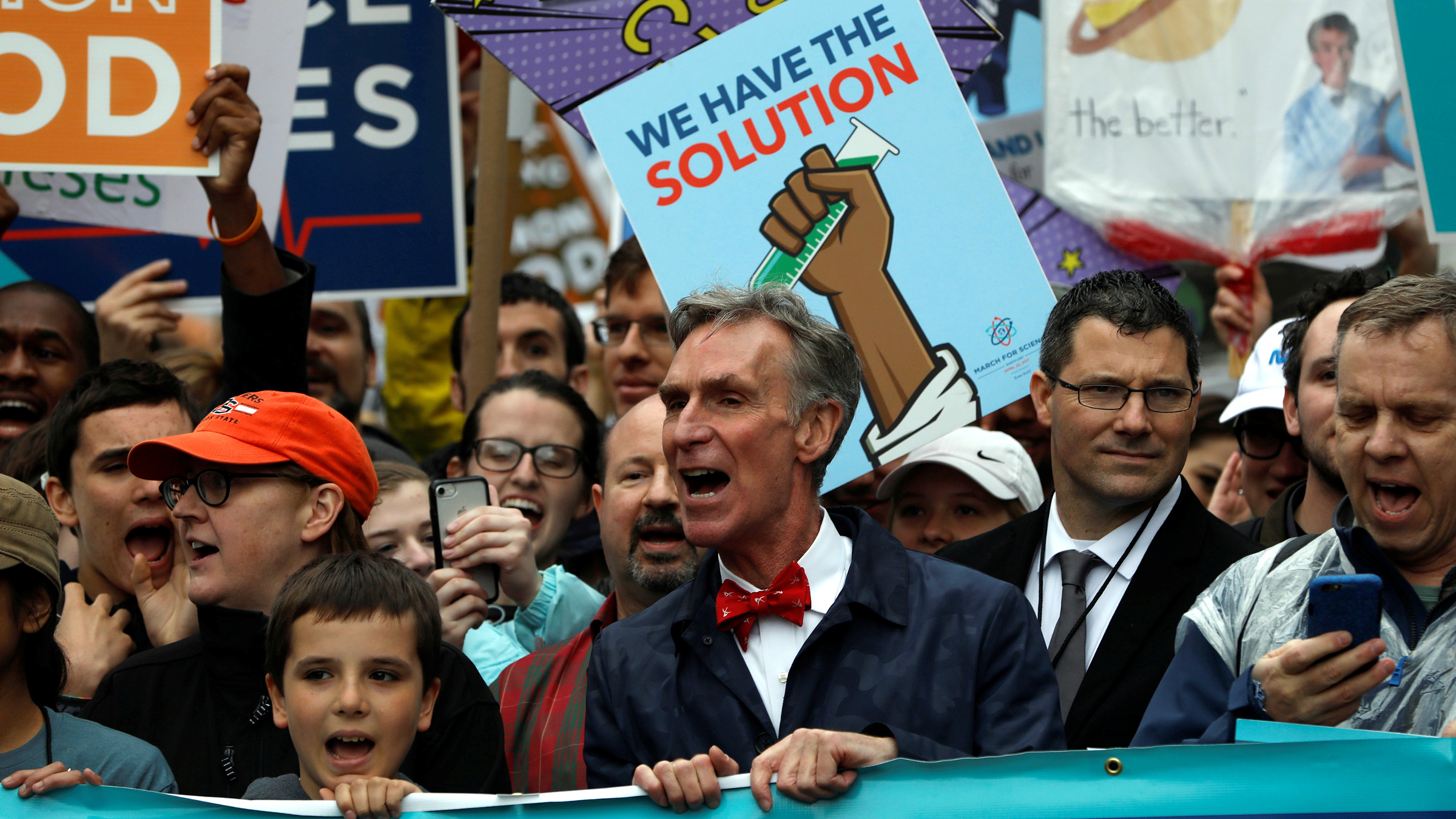 Bill Nye leads demonstrators on a march to the U.S. Capitol during the March for Science in Washington, U.S., April 22, 2017.