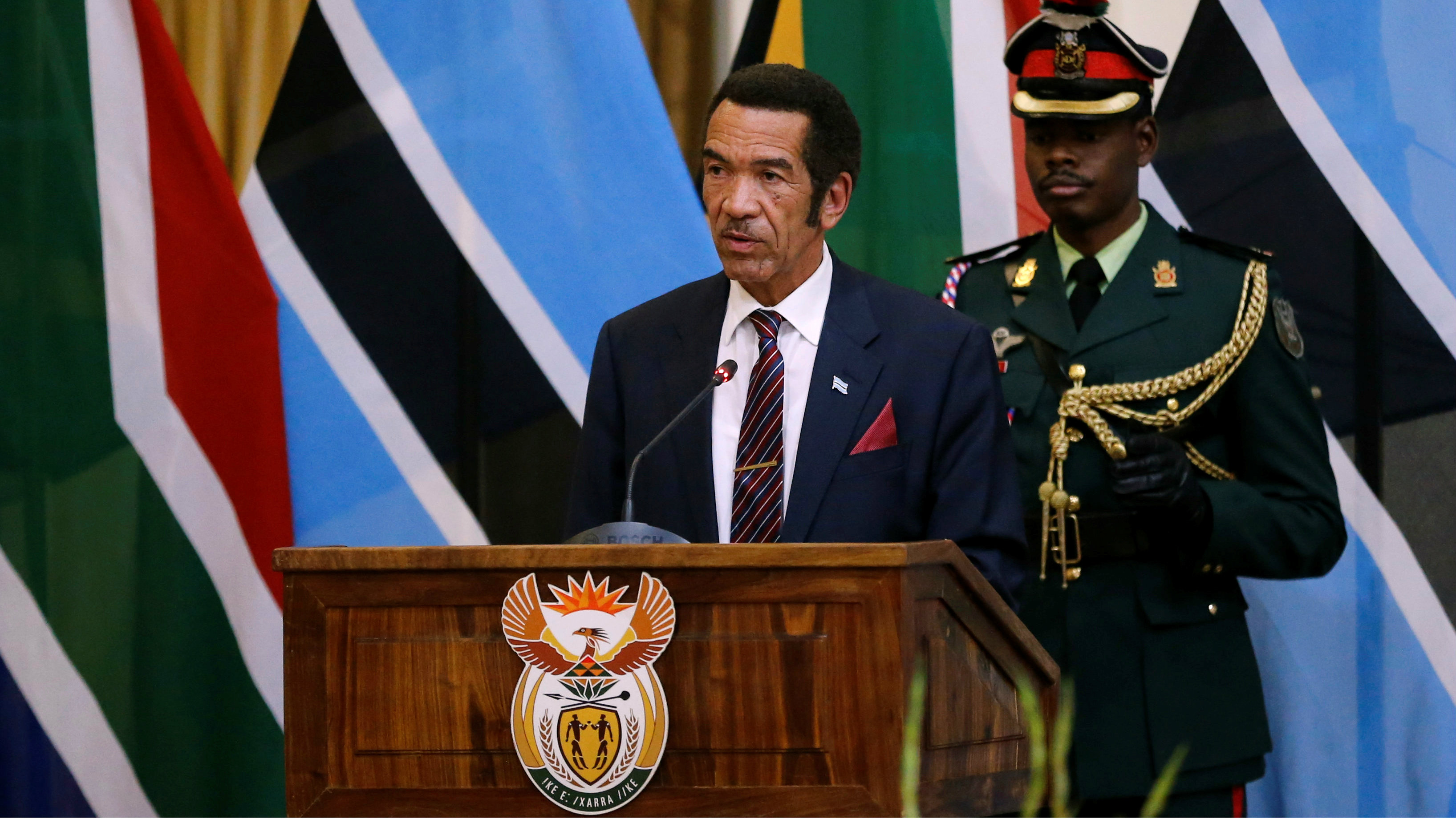Botswana's President Ian Khama speaks during the Botswana-South Africa Bi-National Commission (BNC) in Pretoria, South Africa, November 11, 2016.