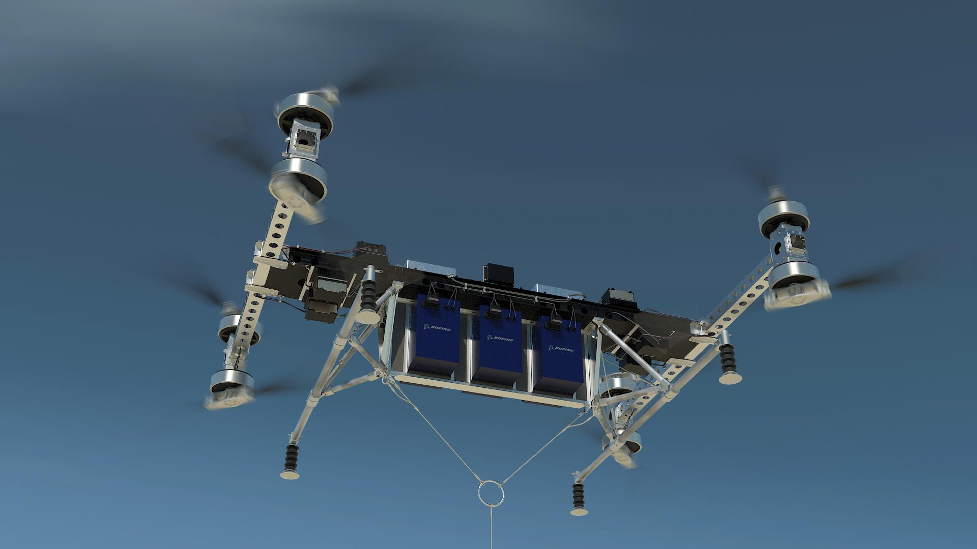Boeing drone in flight