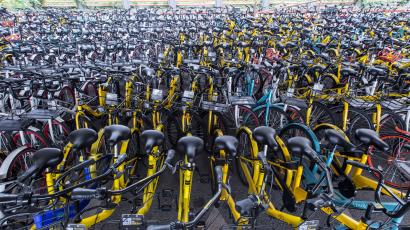 Bicycles of various bike-sharing services are seen under an overpass in Hangzhou, Zhejiang province, China June 7, 2017.
