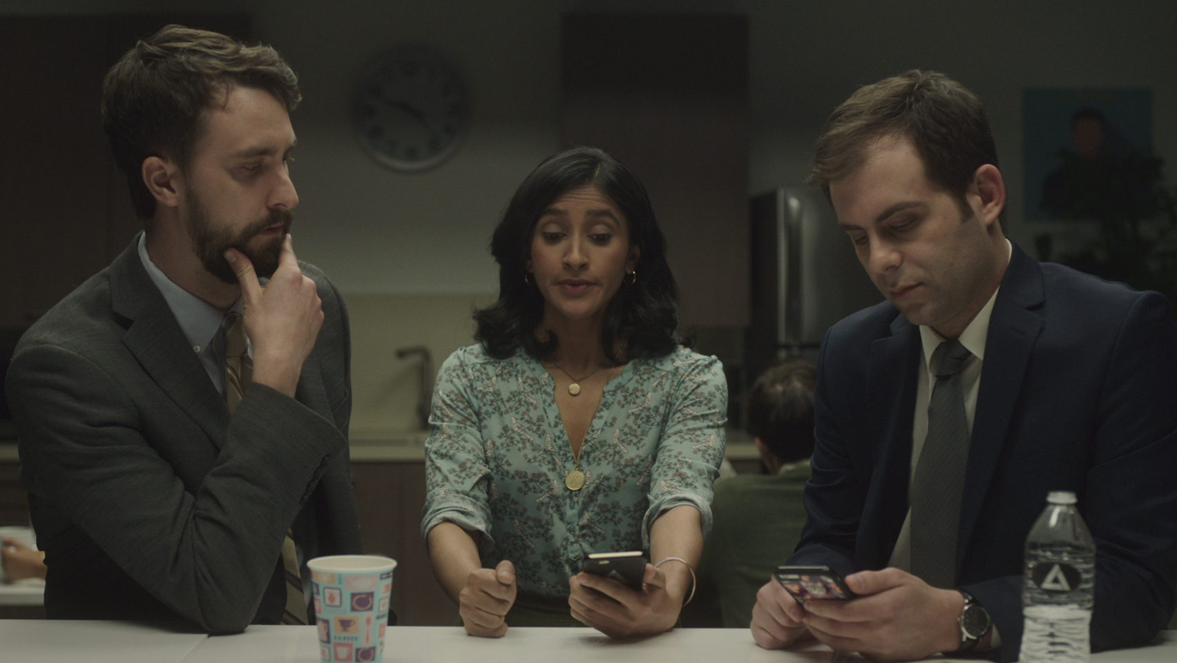 Matt, Grace, and Jake in a scene from corporate